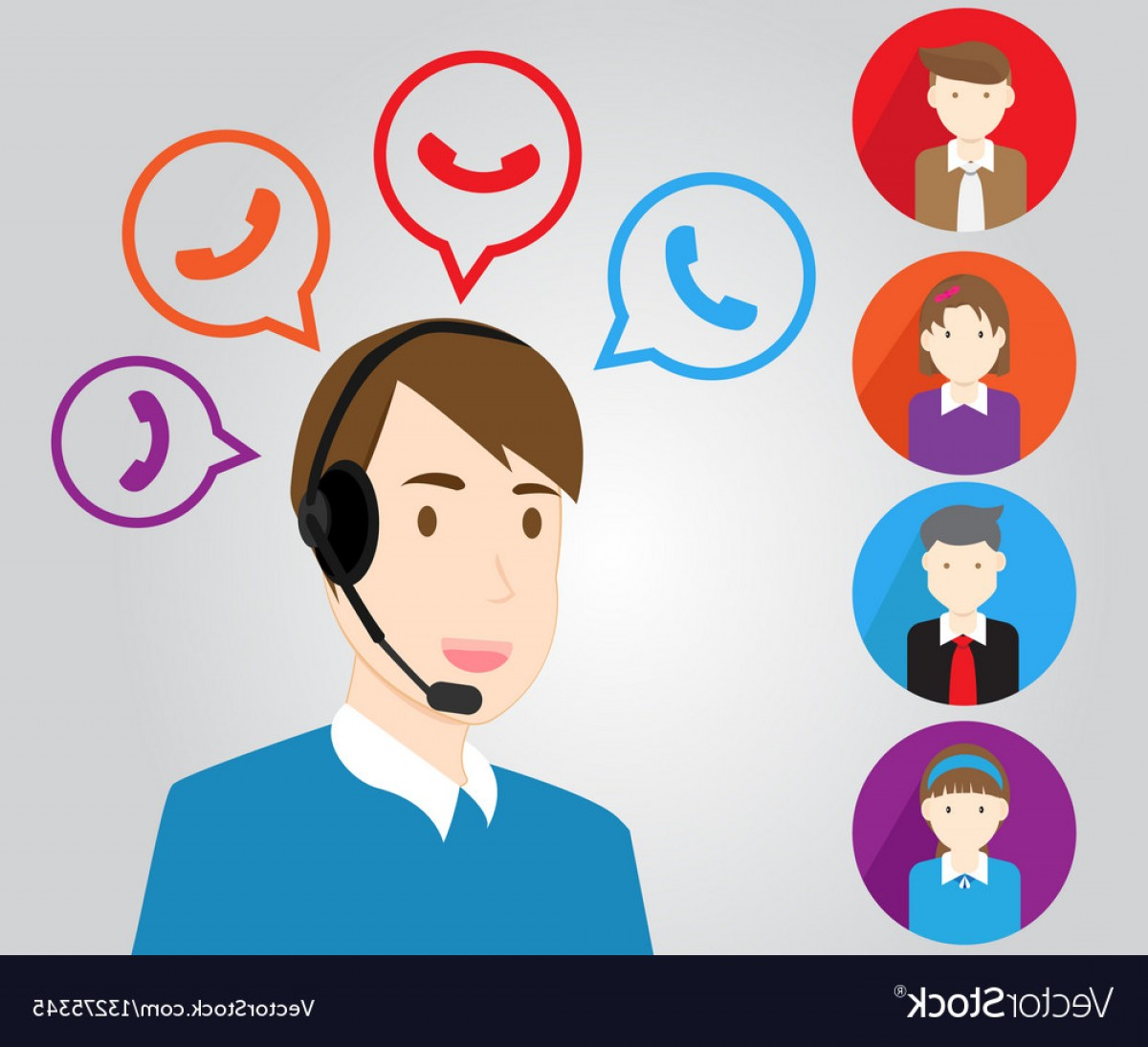 Support Staff Vector: Call Center Support Personnel Staff And Customer Vector