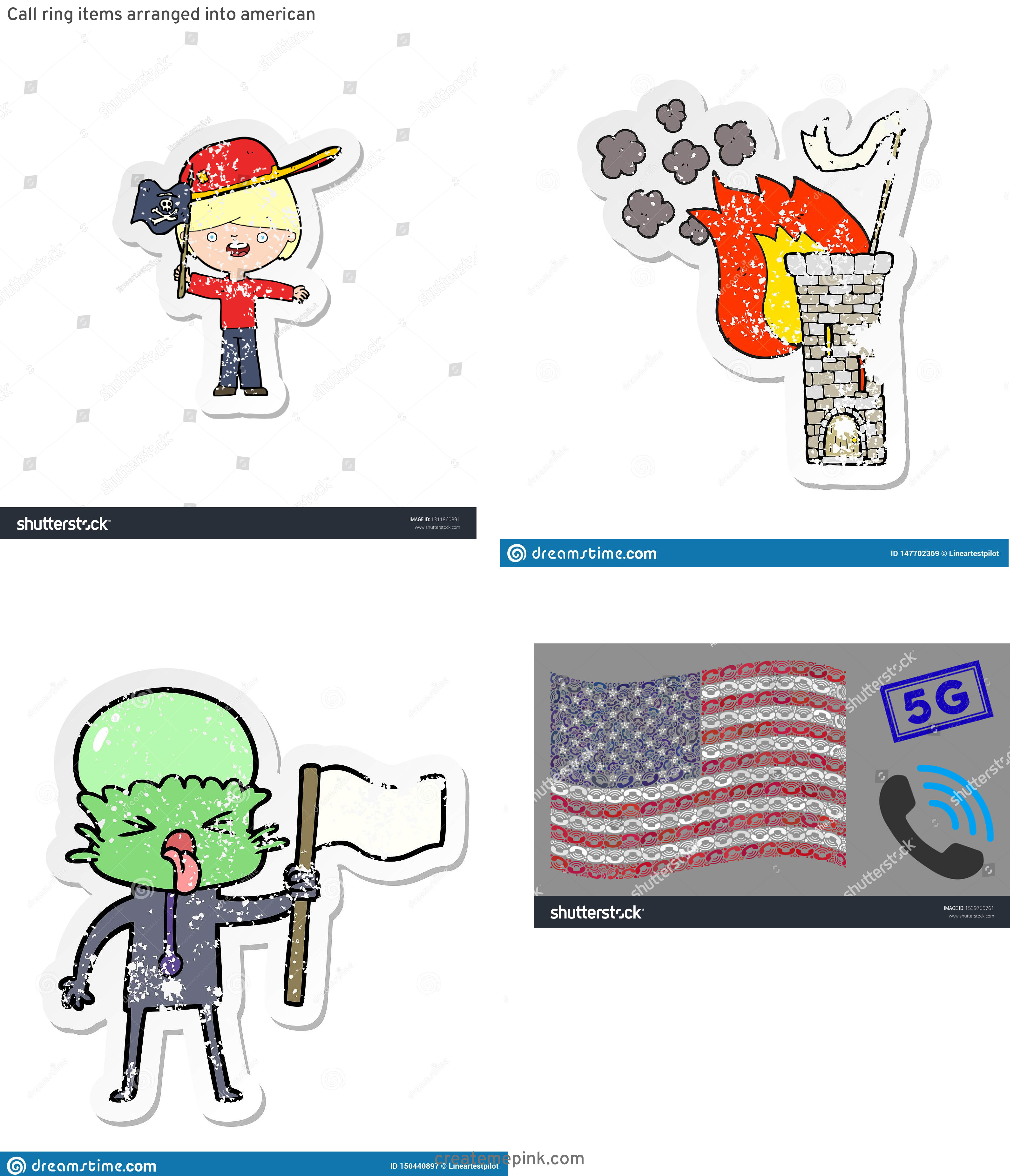 Waving Distressed Flag Vector: Call Ring Items Arranged Into American