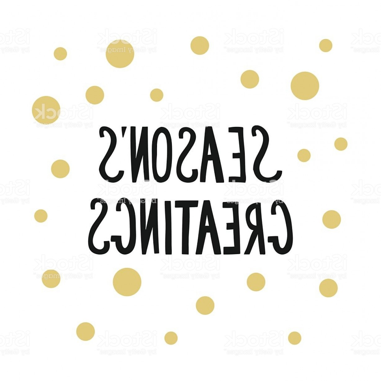 Season S Greetings Vector Free: Calligraphic Phrase Seasons Greetings With Golden Dots For Card Gm