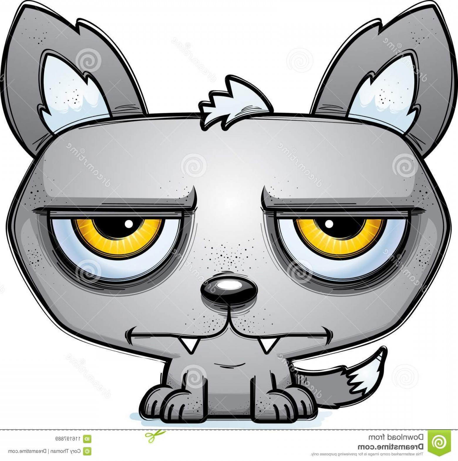 Calm Wolf Vector: Calm Little Cartoon Wolf Cartoon Illustration Wolf Looking Calm Image