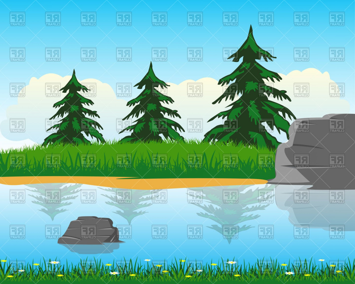 River Vector Art: Calm River With Clean Water Vector Clipart