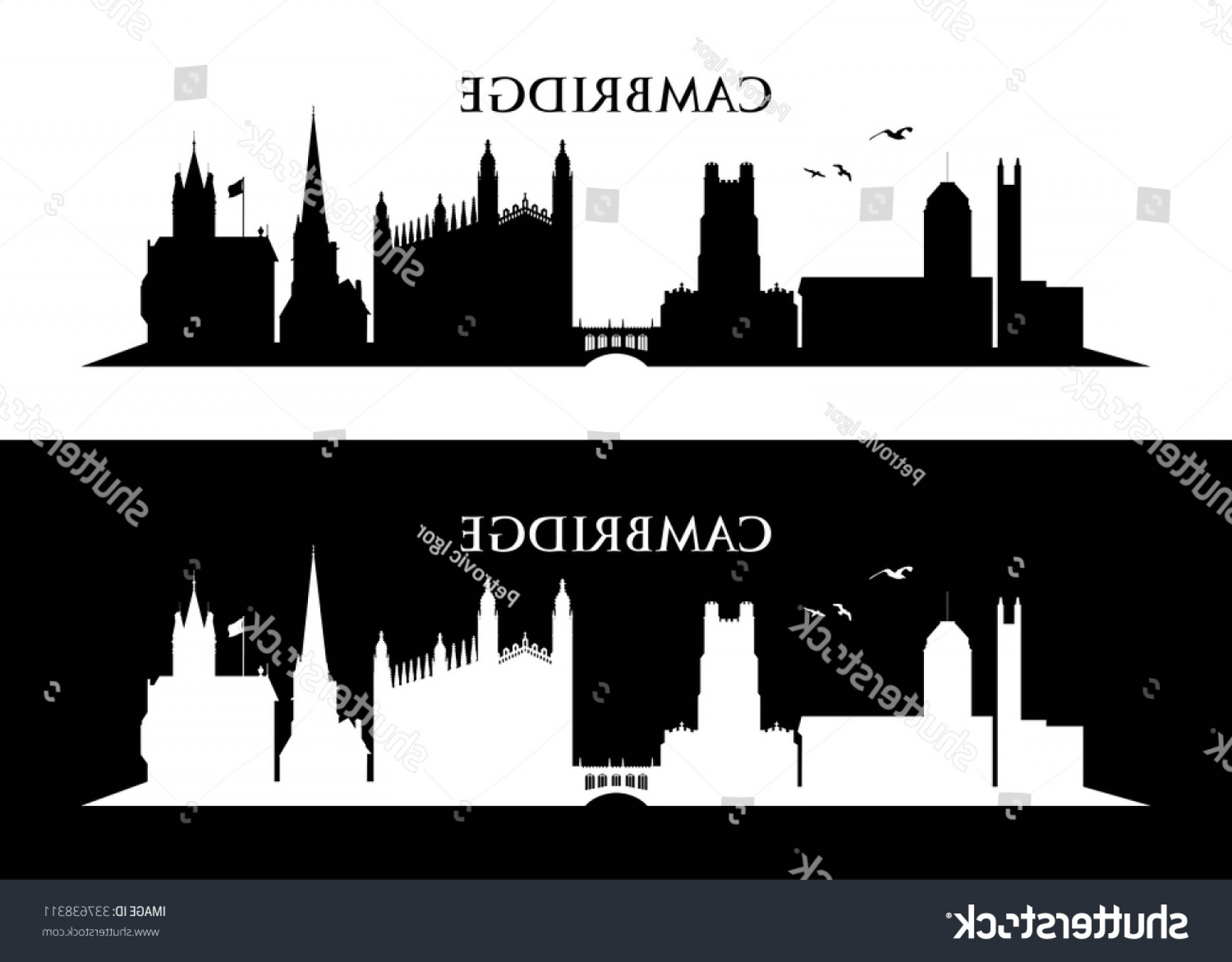 UK Skyline Vector: Cambridge Uk Skyline Vector Illustration