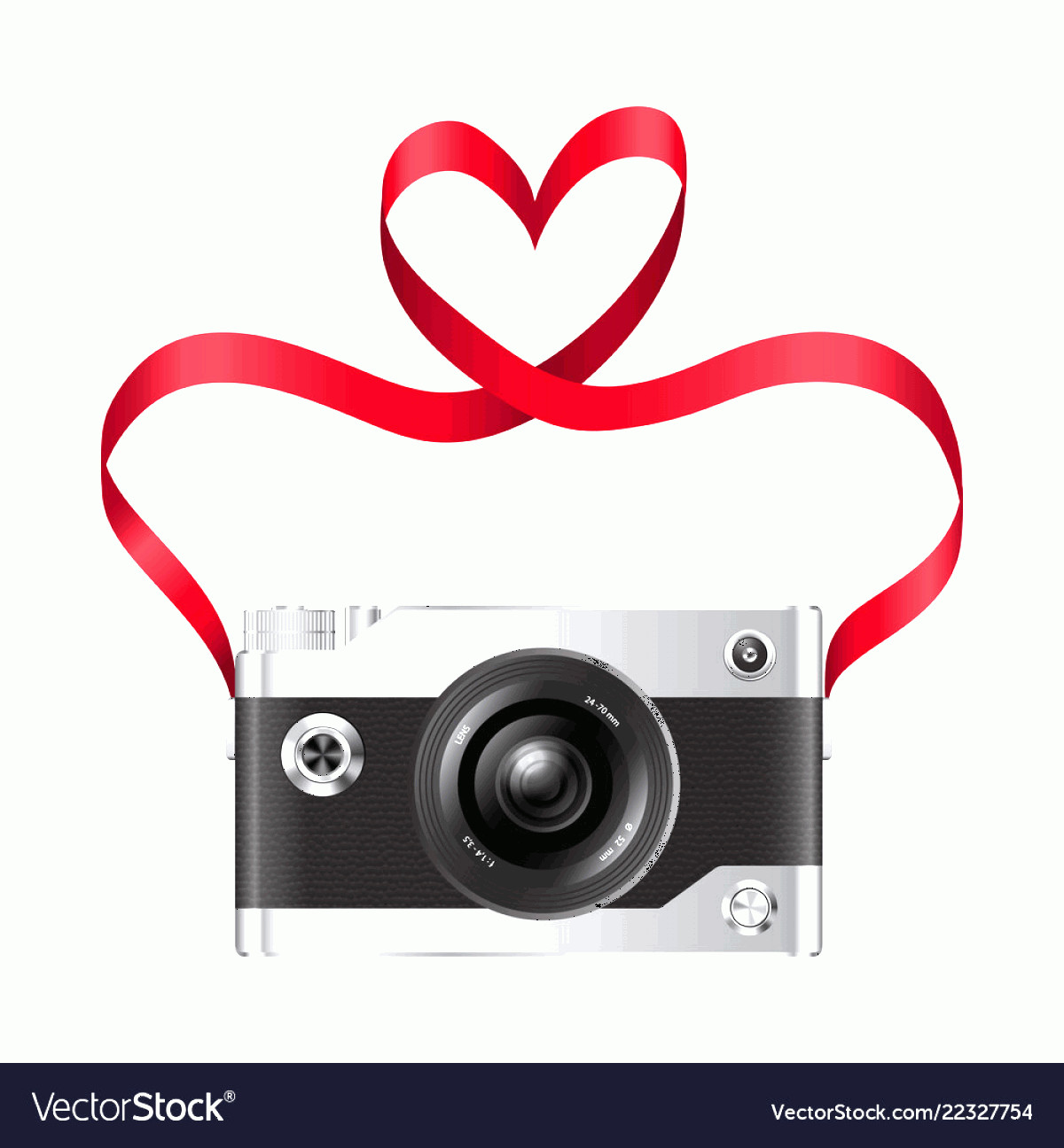Camera Heart Clip Art Vector: Camera And Red Ribbon With Heart Vector