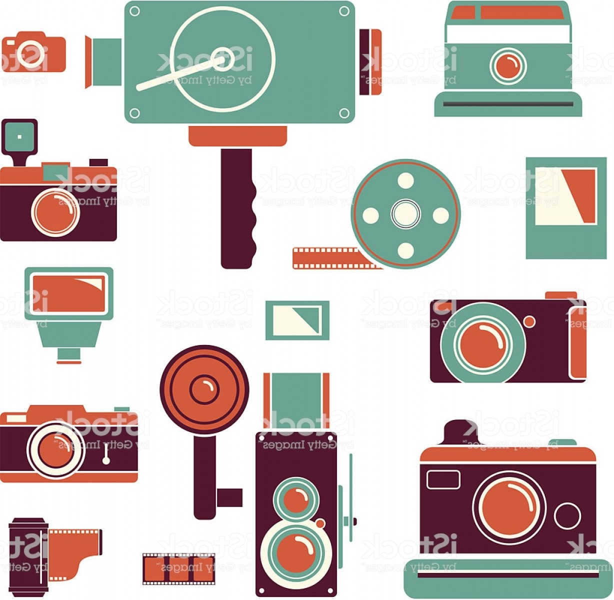 Hires Camera Lens Vector: Camera Icons With Retro Colours Gm