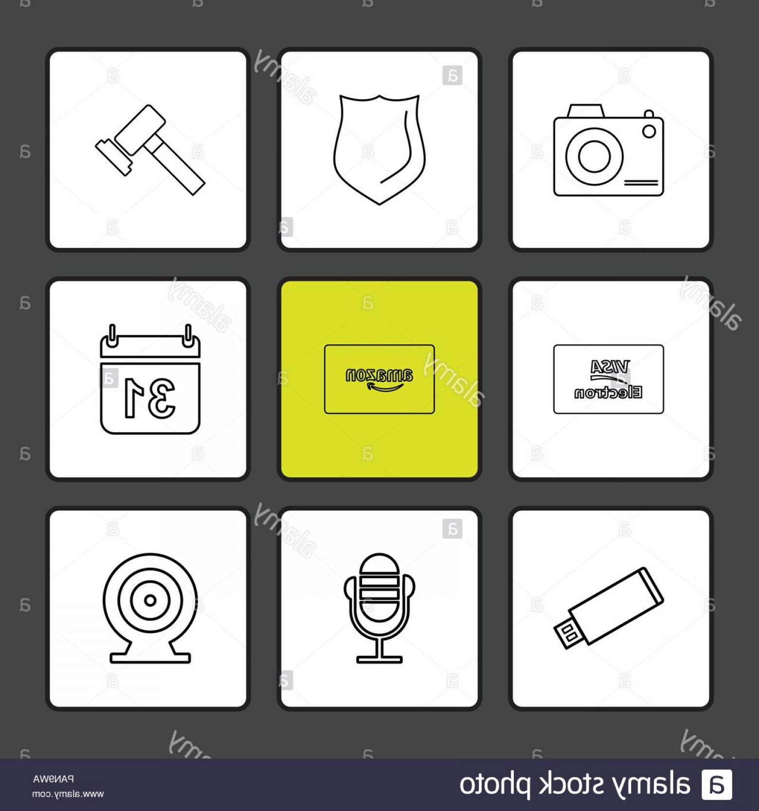 Amazon Icon Vector: Camera Sheild Hammer Calender Amazon Card Usb Microphone Dart Visa Icon Vector Design Flat Collection Style Creative Icons Image