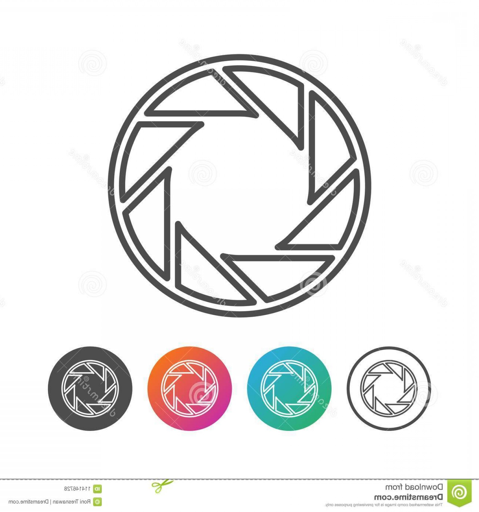 Camera Outline Vector Graphic: Camera Shutter Outline Icon Symbol Design Set Vector Graphic Logo Image