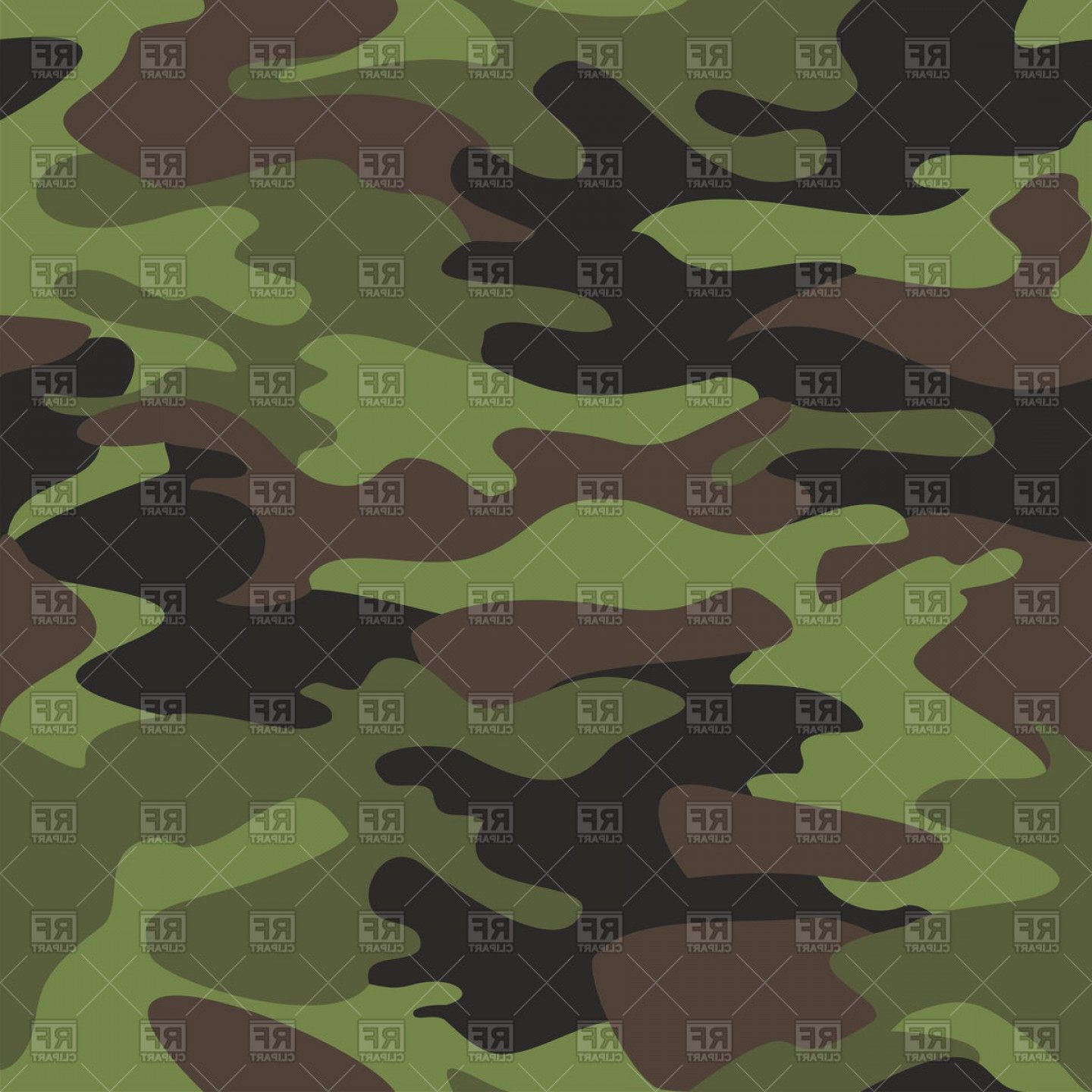 Army Camouflage Pattern Vector: Camouflage Pattern Classic Military Texture Vector Clipart