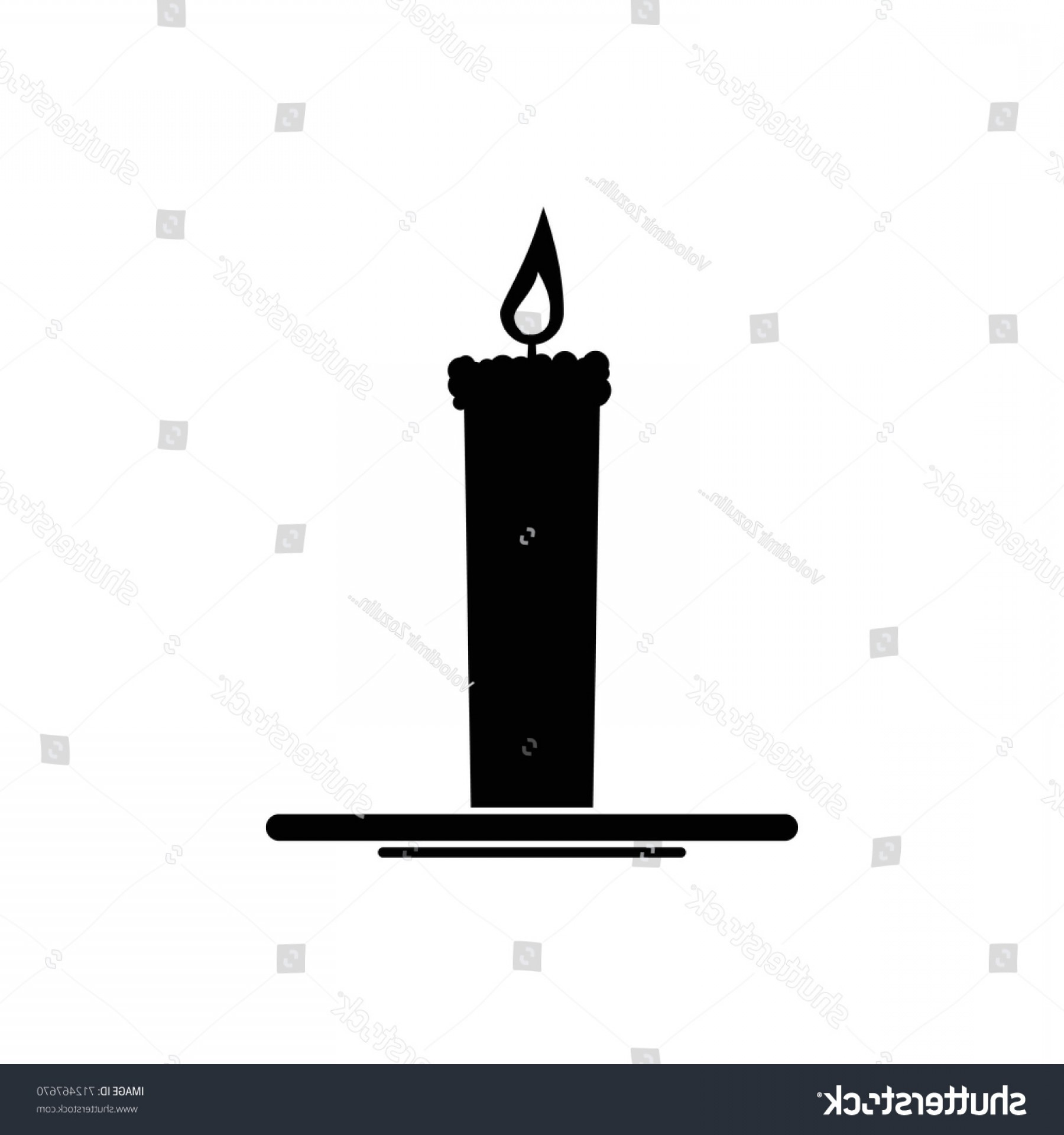 Candle Vector Black: Candle Vector Black Icon On White