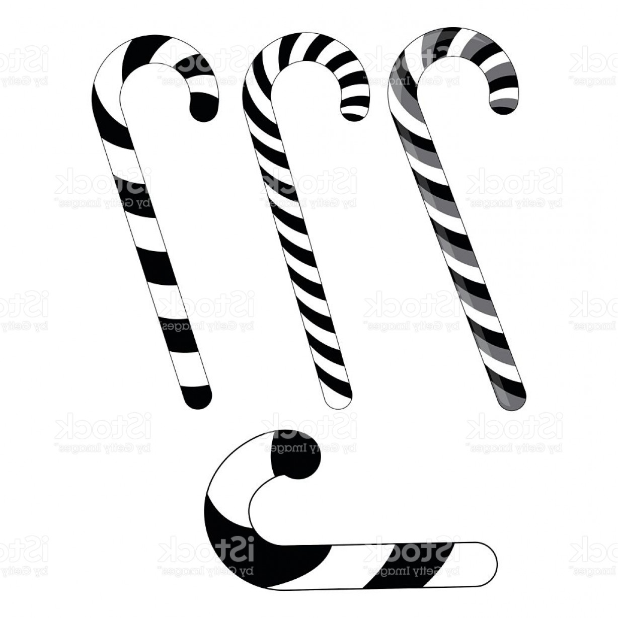 Black And White Candy Vector: Candy Cane Striped Silhouette For Christmas Gm