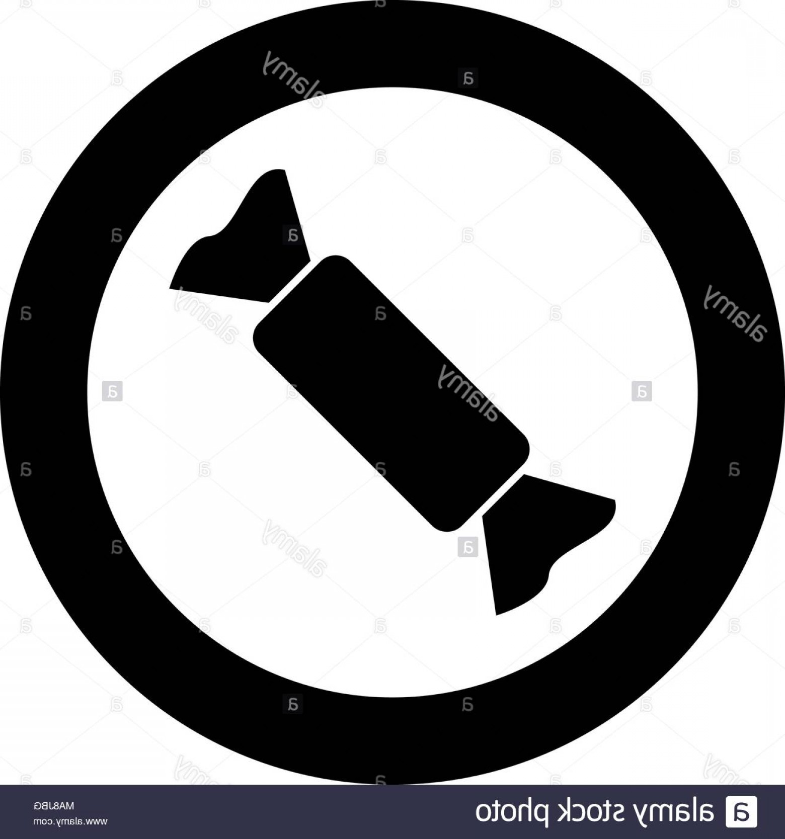 Black And White Candy Vector: Candy Icon Black Color In Circle Vector Illustration Image