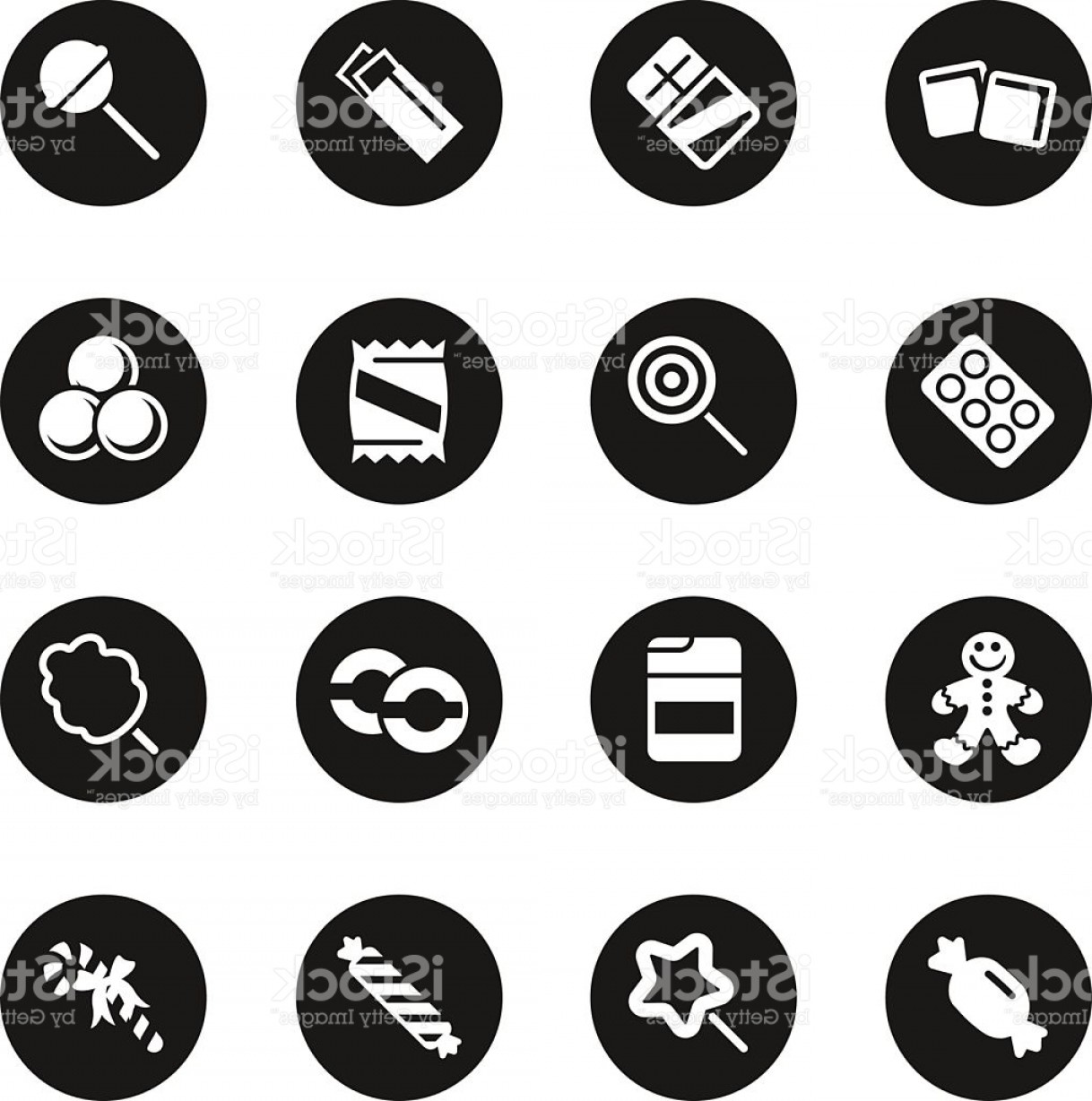 Black And White Candy Vector: Candy Icons Set Black Circle Series Gm