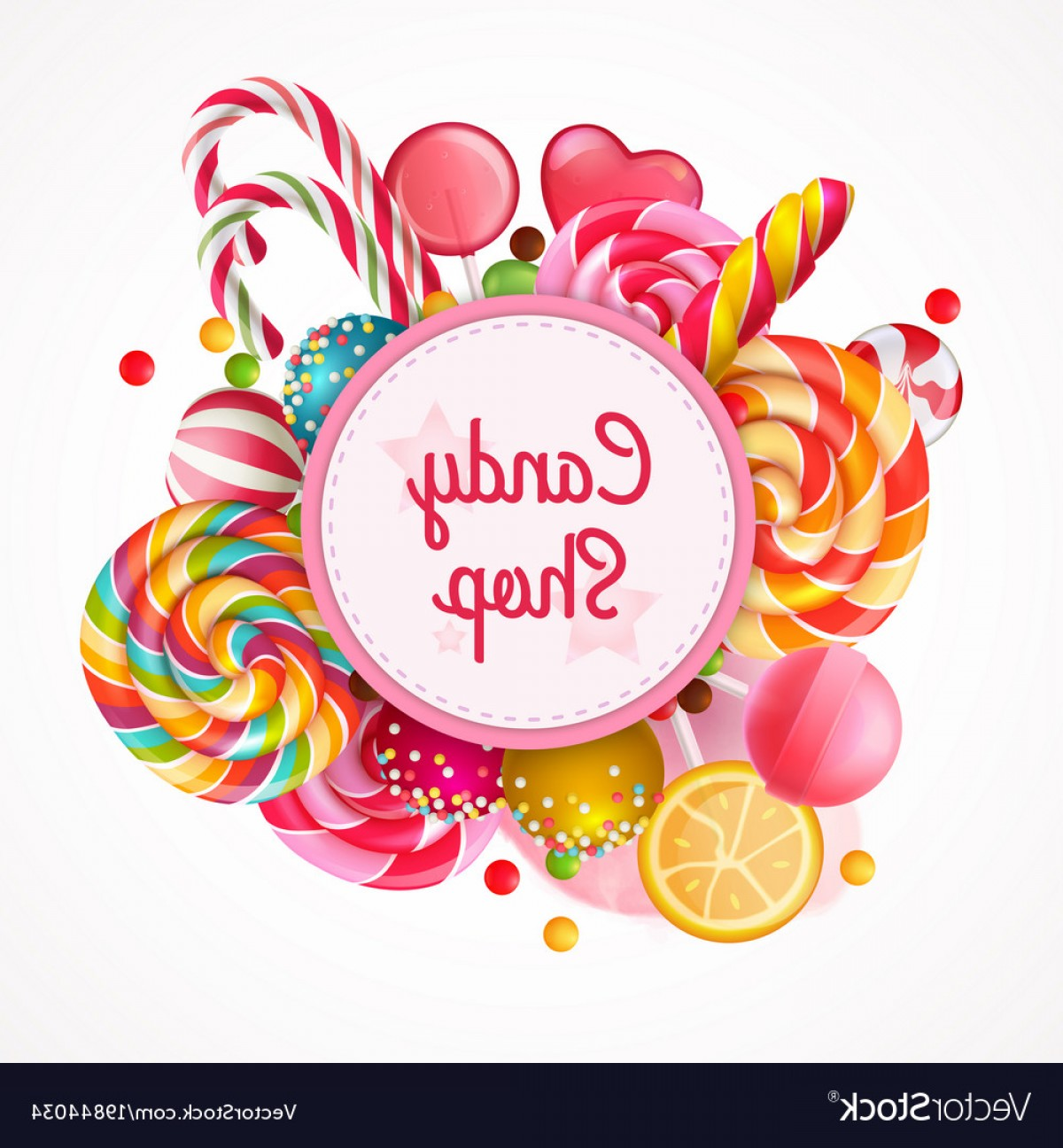 Candy Shop Vector: Candy Shop Round Frame Background Vector