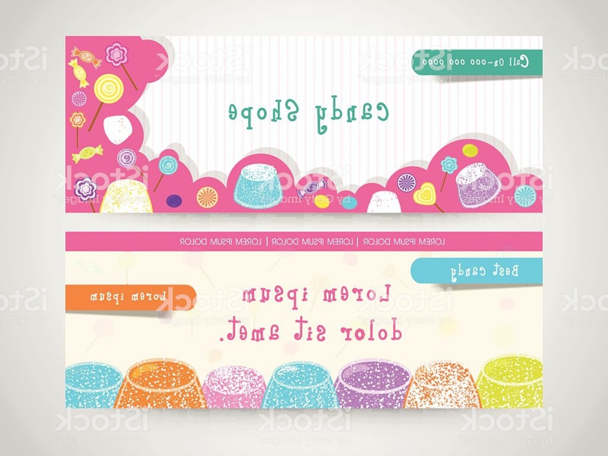 Candy Shop Vector: Candy Shop Web Header Or Banner Set Gm