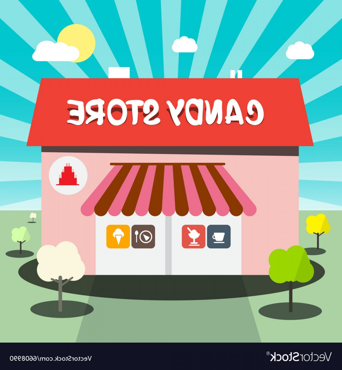 Candy Shop Vector: Candy Store Flat Design Vector