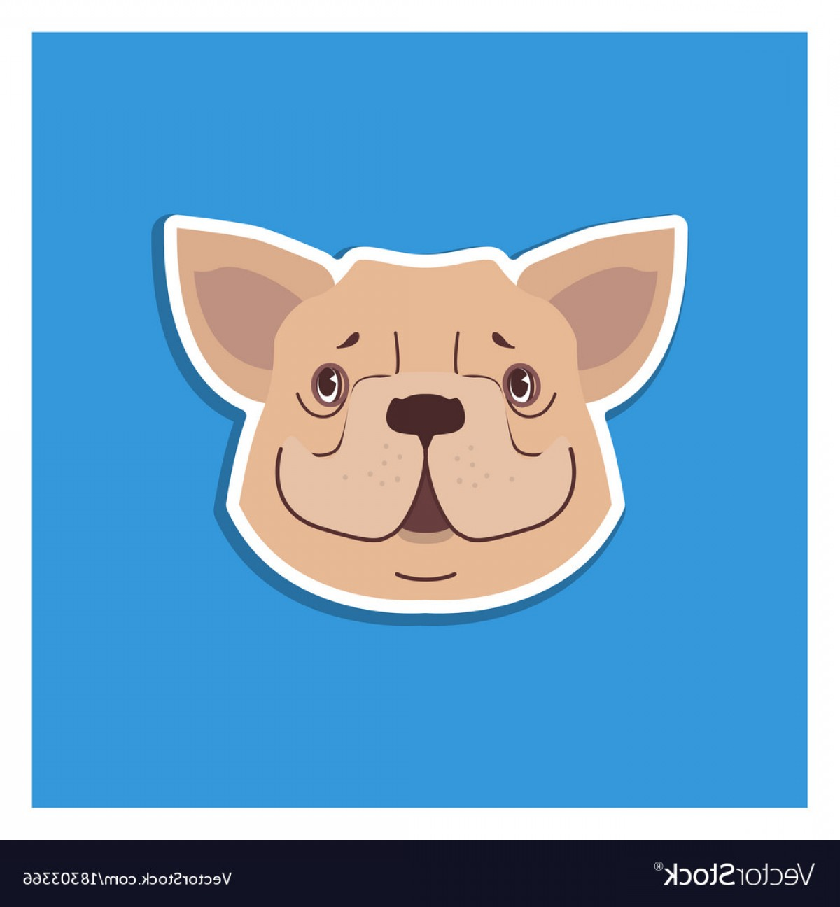 Vector Smiling Bulldog: Canine Smiling Face Of French Bulldog Drawn Icon Vector
