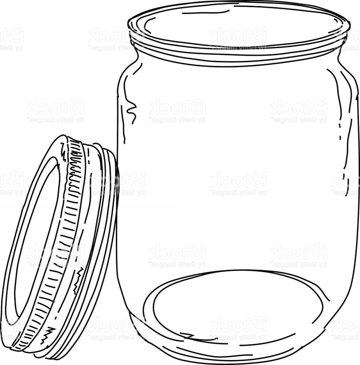 Mason Jar Outline Vector: Canning Jar Open Lid Gm