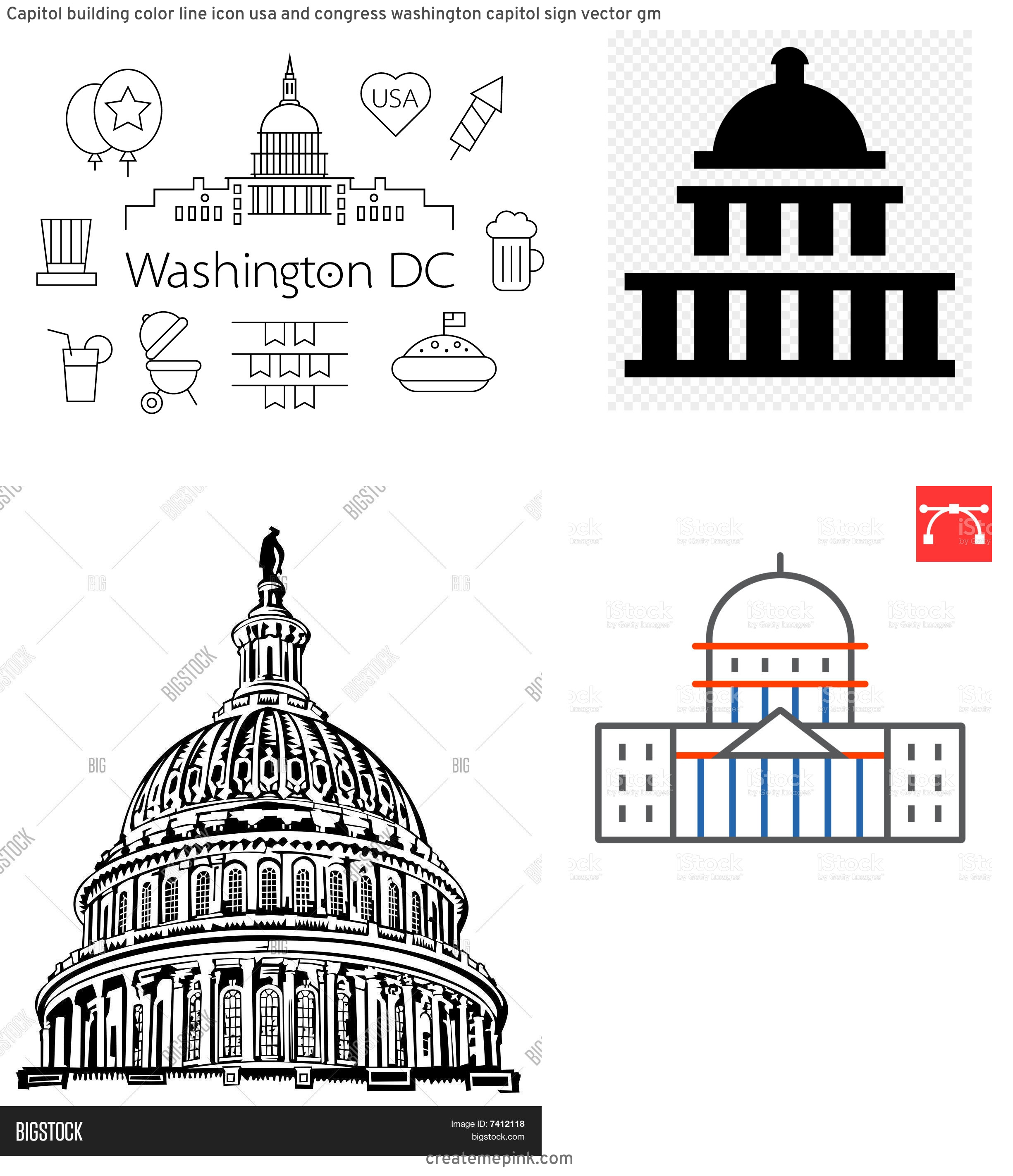 US Capital Vector Line Drawing: Capitol Building Color Line Icon Usa And Congress Washington Capitol Sign Vector Gm