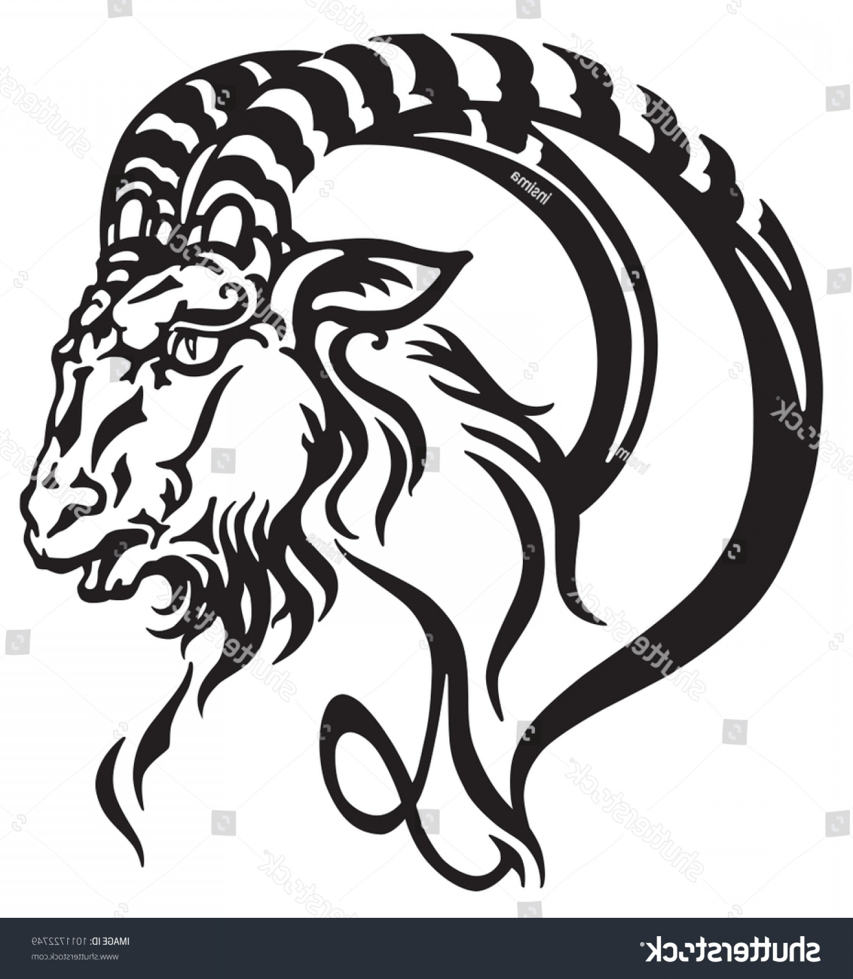 Tribal Vector Horseshoe Image: Capricorn Logo Head Mythological Sea Goat