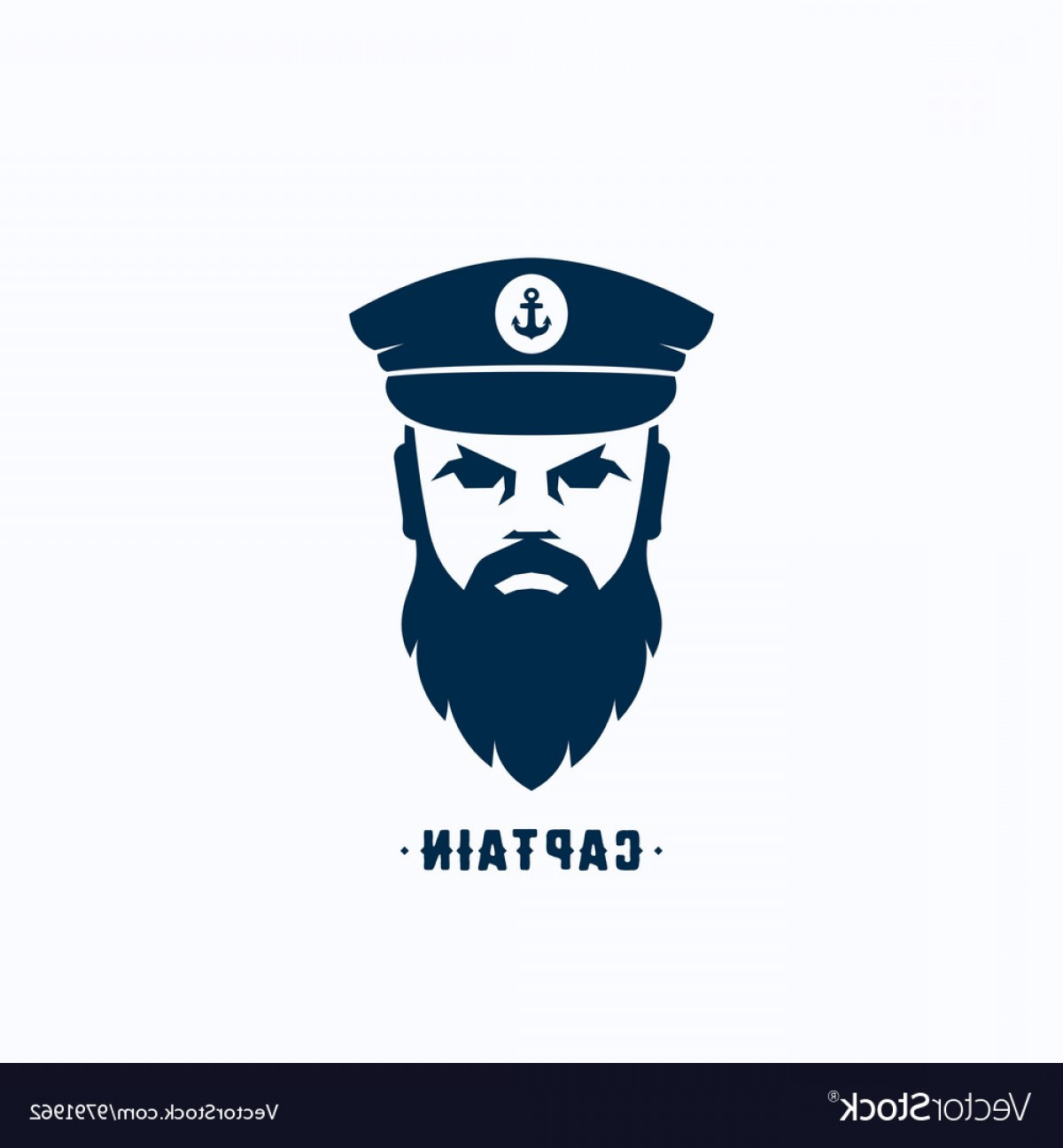 U S. Navy Shellback Logos Vector: Captain Face Silhouette Logo Template Vector