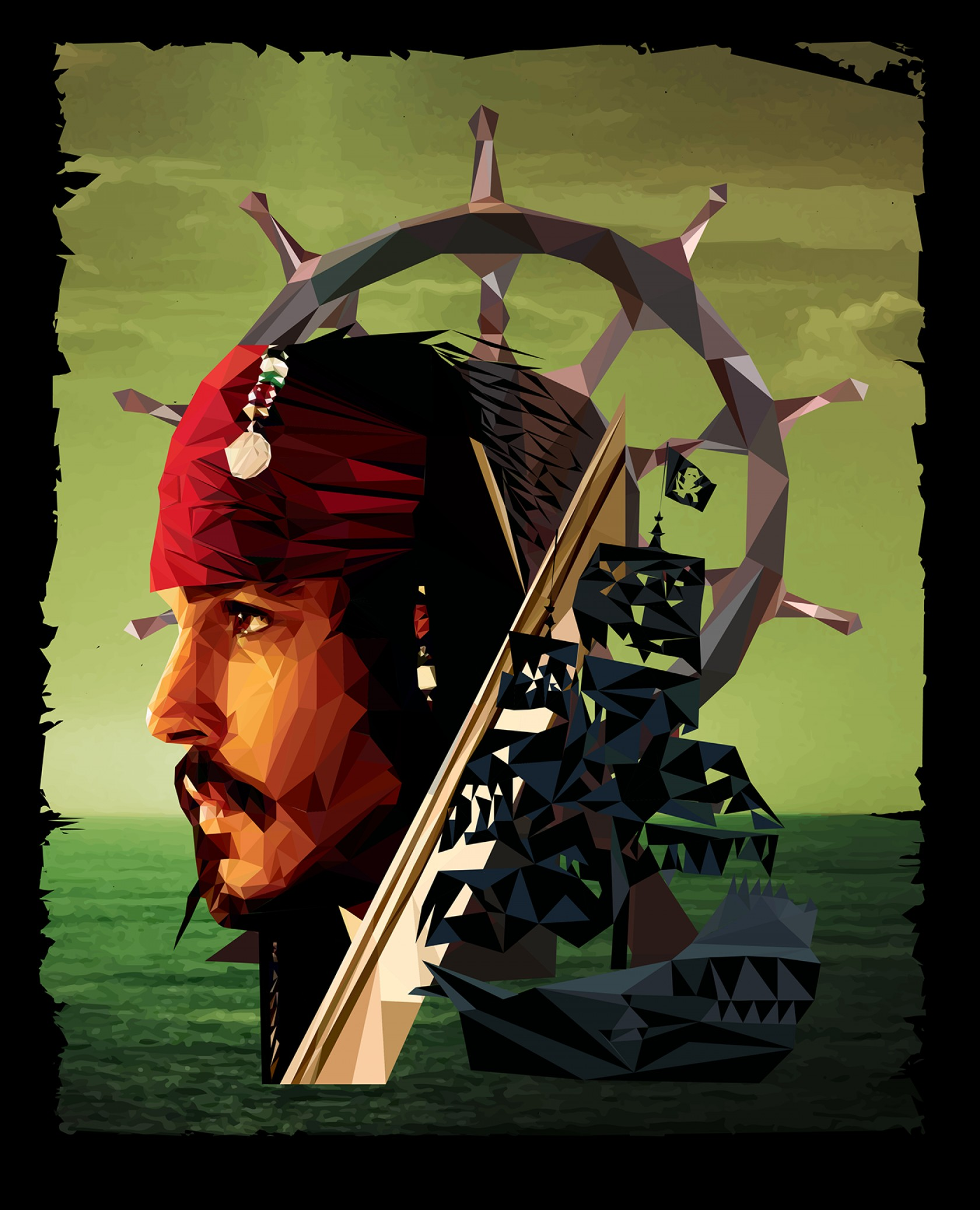 Jack Sparrow Vector Logo: Captain Jack Sparrow Low Poly Art