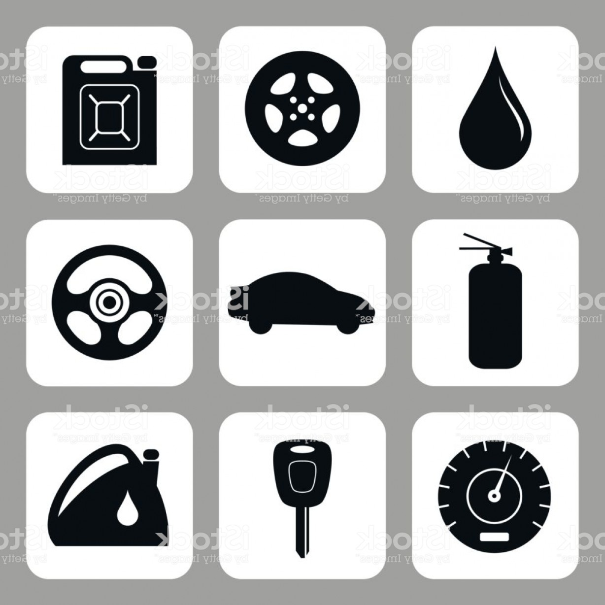 Auto Mobile Vector Art: Car Accessories Vector Set Gm