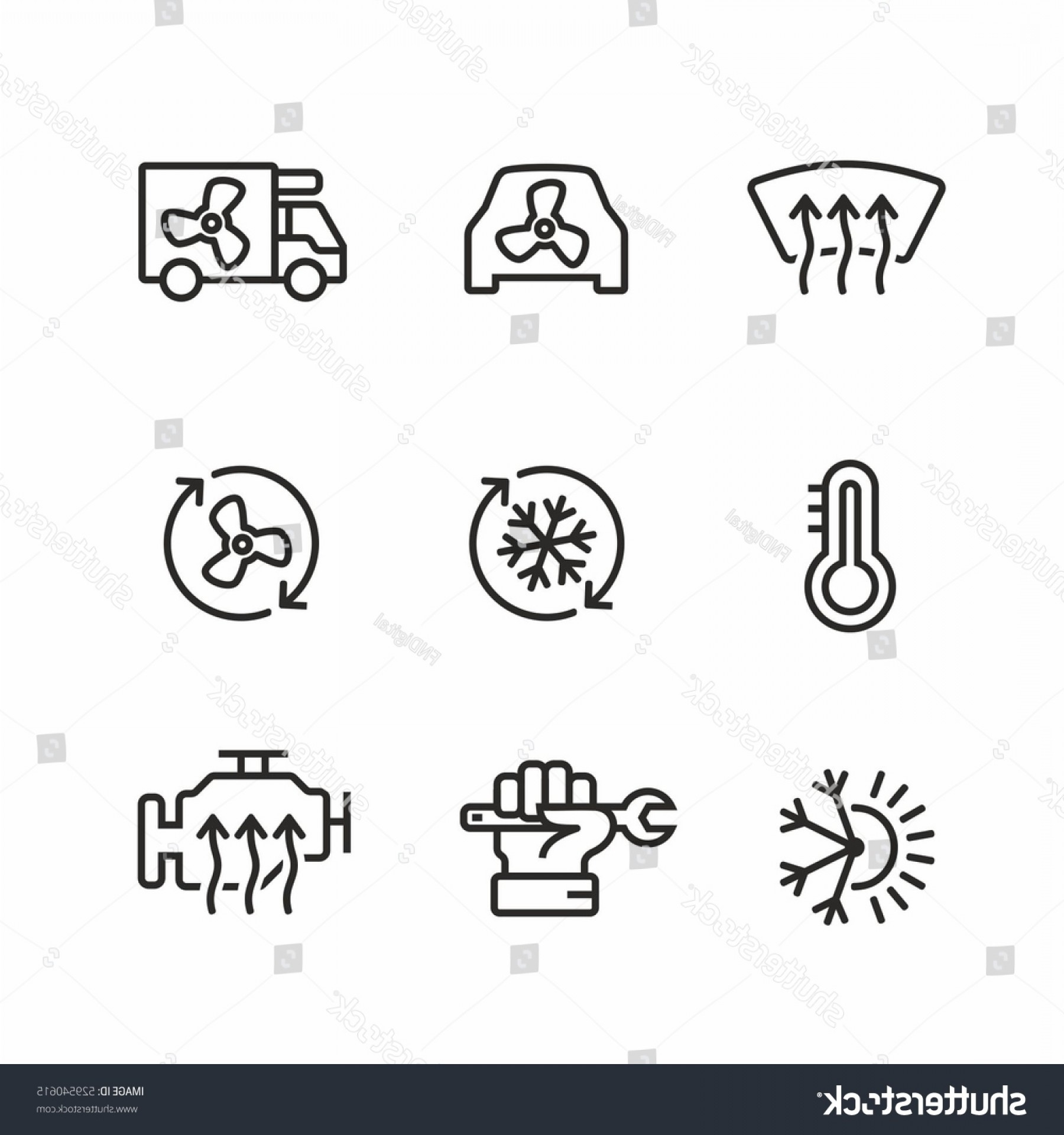 Air Conditioners Stabilizer Vector: Car Air Conditioning Icons Set