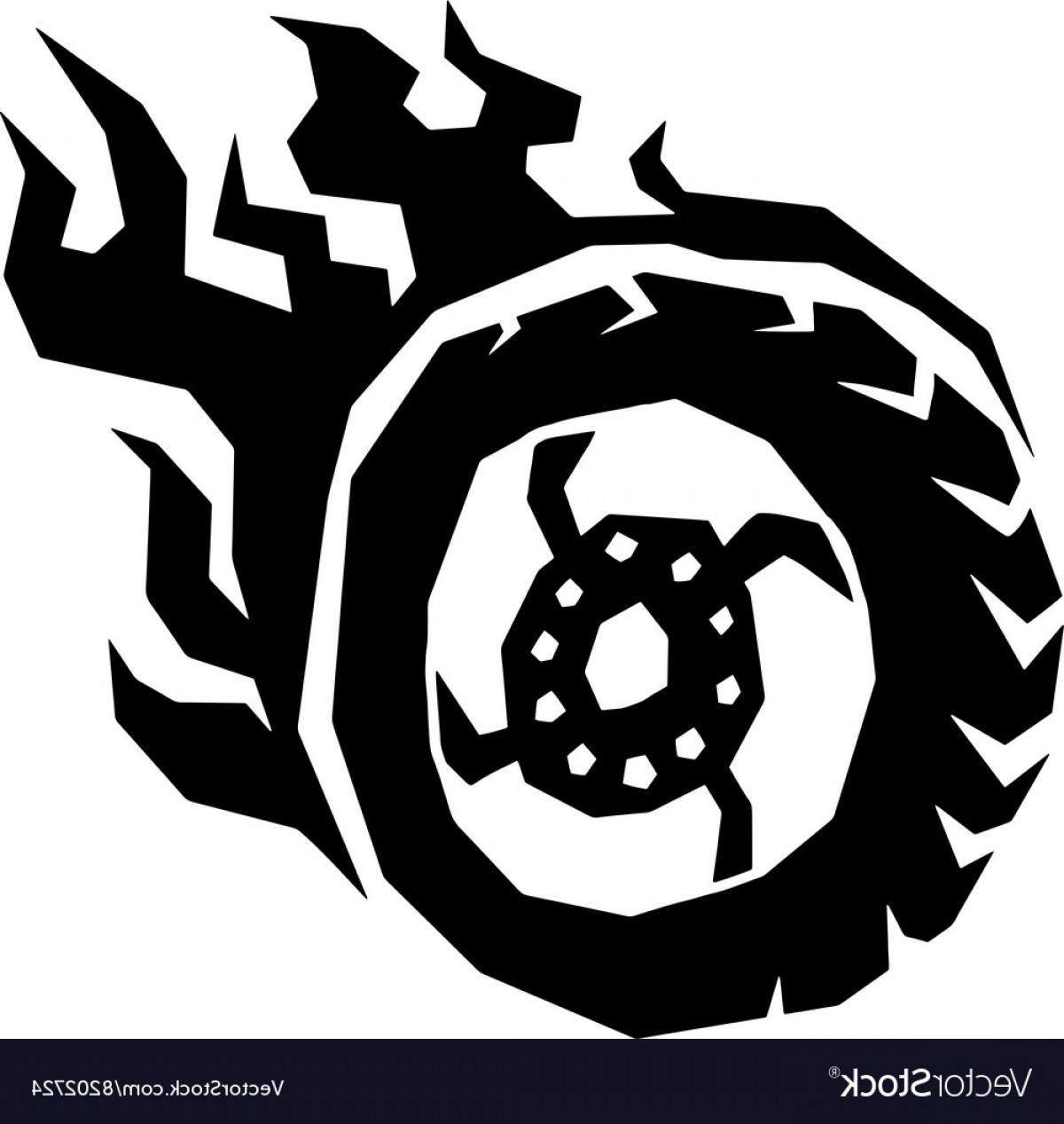 Hot Wheels Vector Art: Car And Motorcycle Fire Wheel With Flame Vector