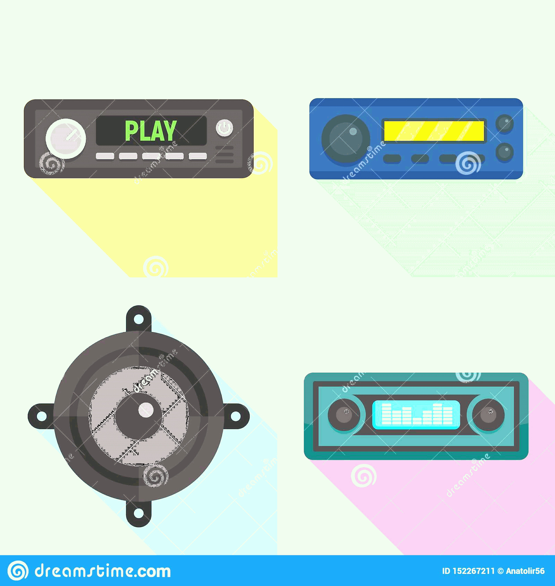 Car Audio Vector: Car Audio Icons Set Flat Style Vector Web Design Image