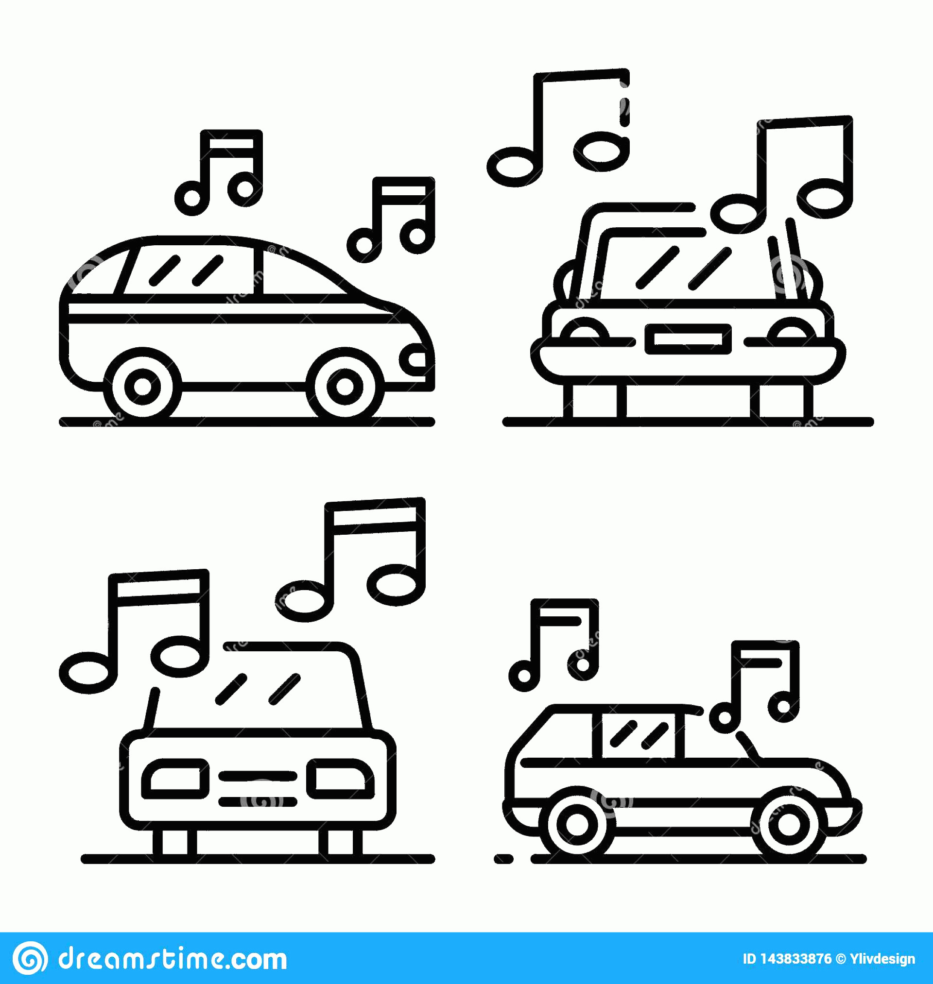 Car Audio Vector: Car Audio Icons Set Outline Style Car Audio Icons Set Outline Set Car Audio Vector Icons Web Design Isolated White Image