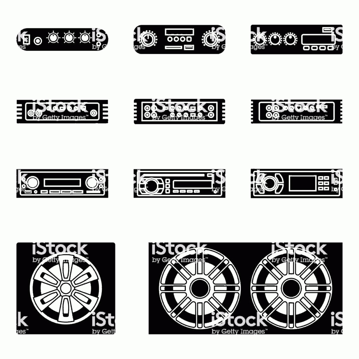 Car Audio Vector: Car Audio Speaker Receiver And Mixer Silhouette Vector Gm