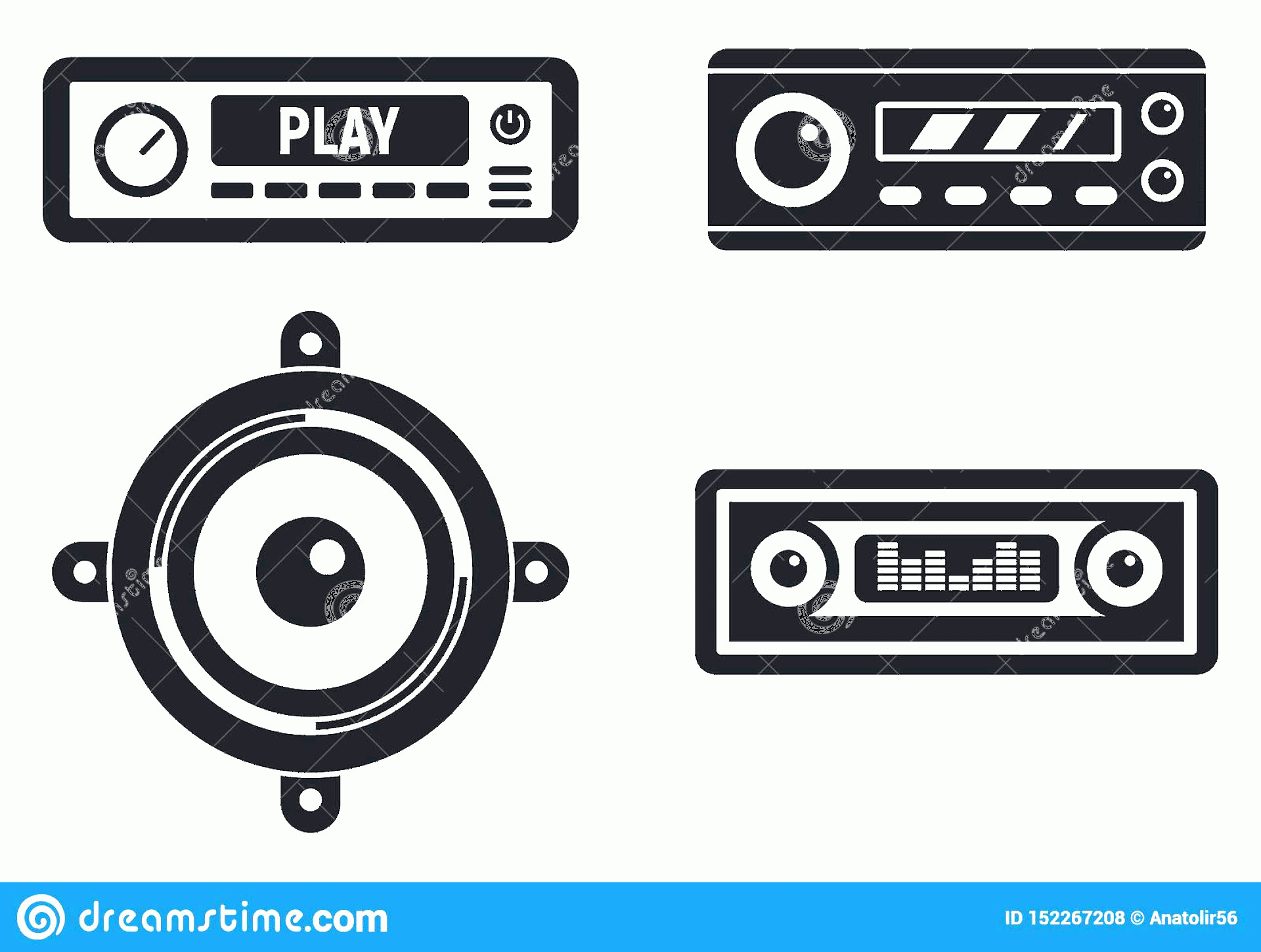 Car Audio Vector: Car Audio System Icons Set Simple Style Vector Web Design White Background Image