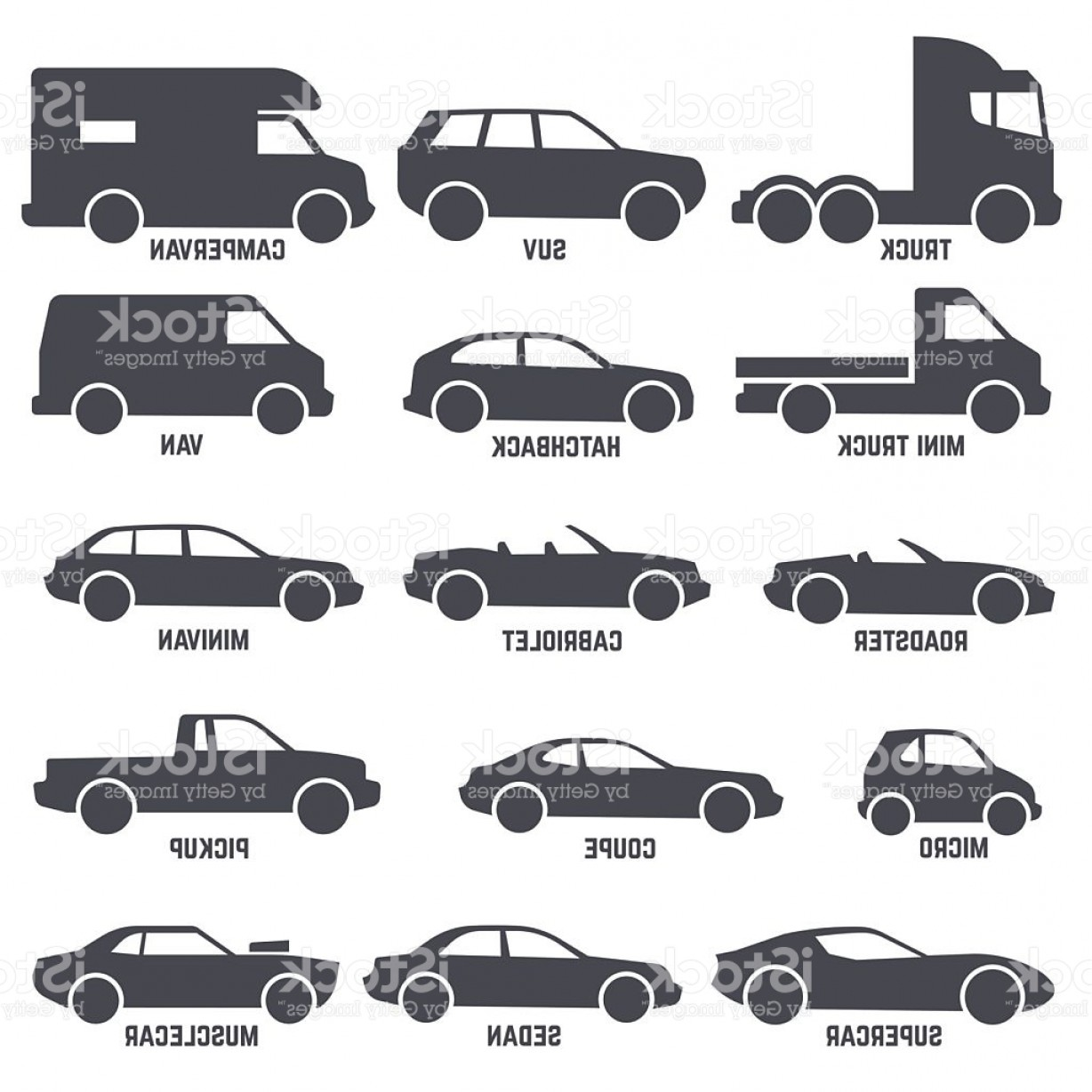 Auto Mobile Vector Art: Car Automobile Types Black Vector Icons Isolated On White Gm