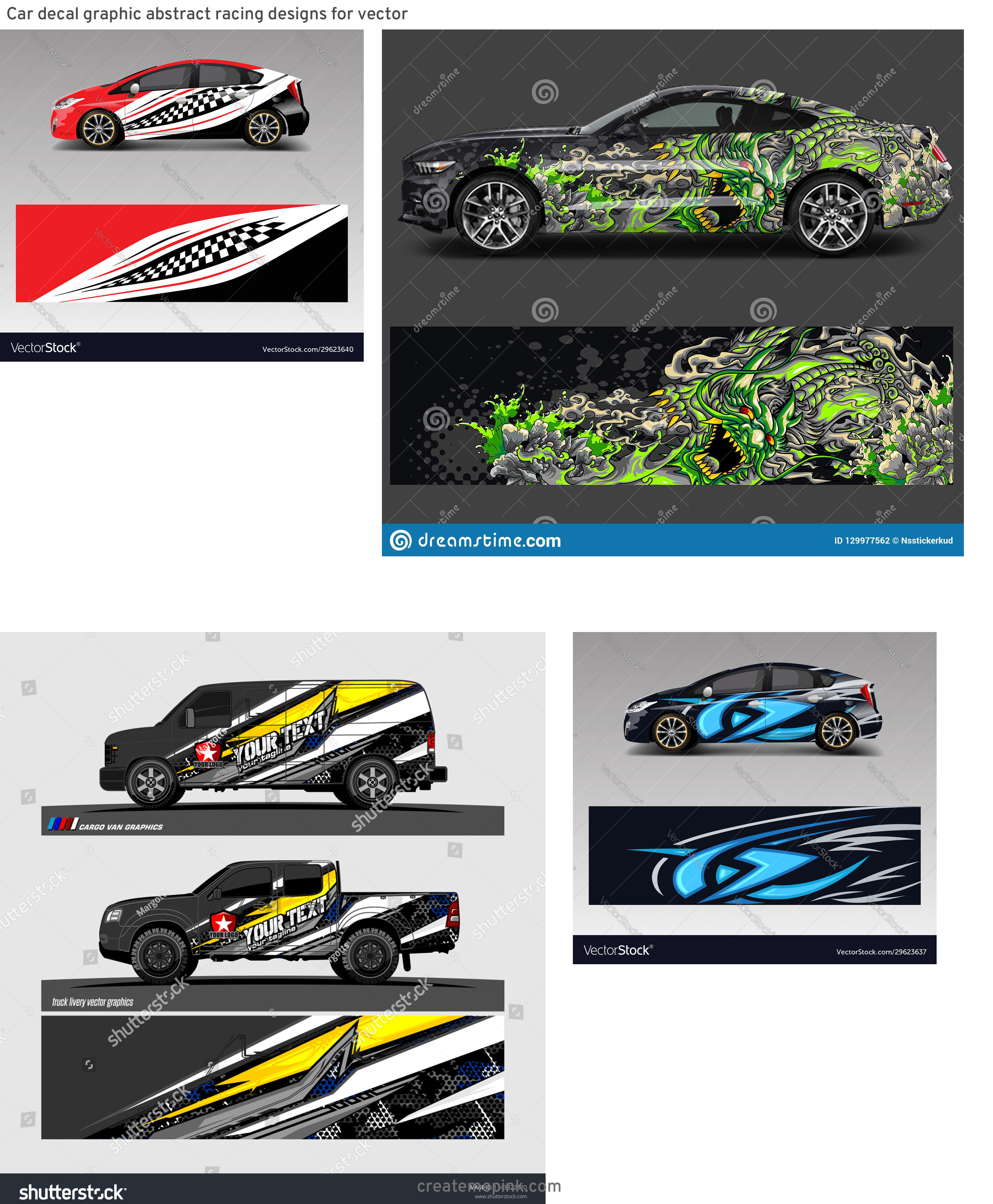 Chevrolet Racing Vinyl Vector: Car Decal Graphic Abstract Racing Designs For Vector