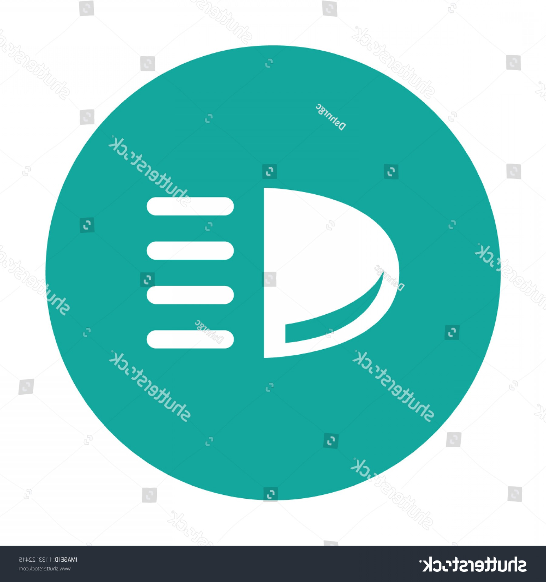 Vector Round Headlight: Car Headlight Vector Icon Blue Background