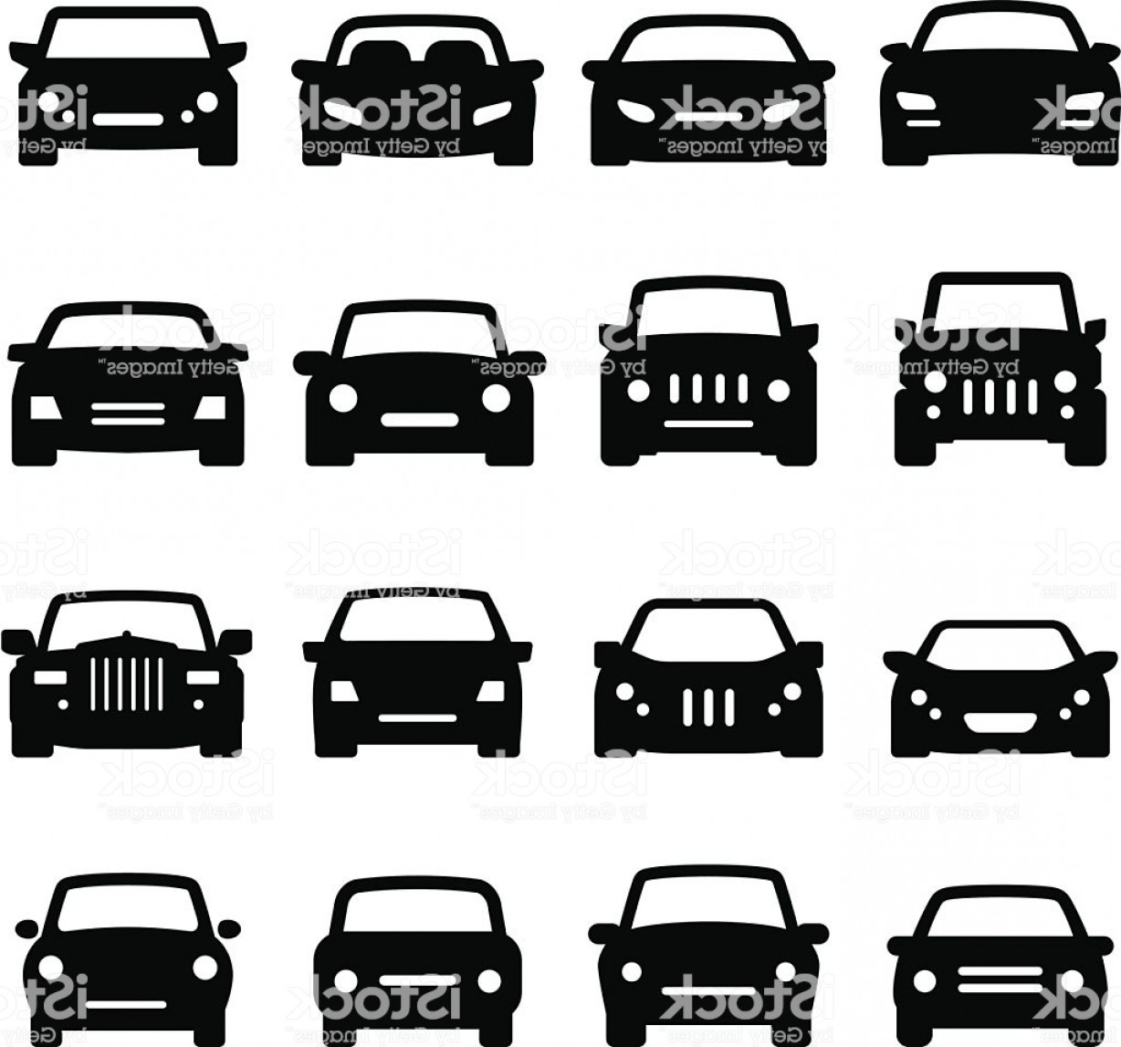Auto Mobile Vector Art: Car Icons Front Views Black Series Gm