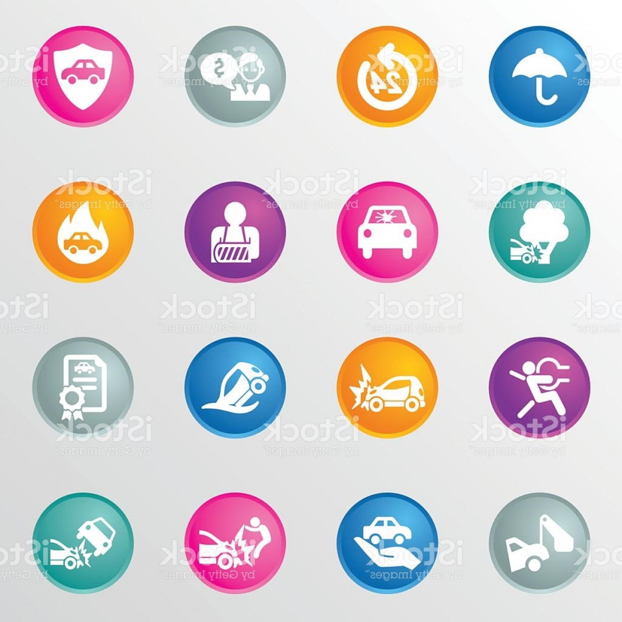 Vector Insurance: Car Insurance Circle Color Icons Gm