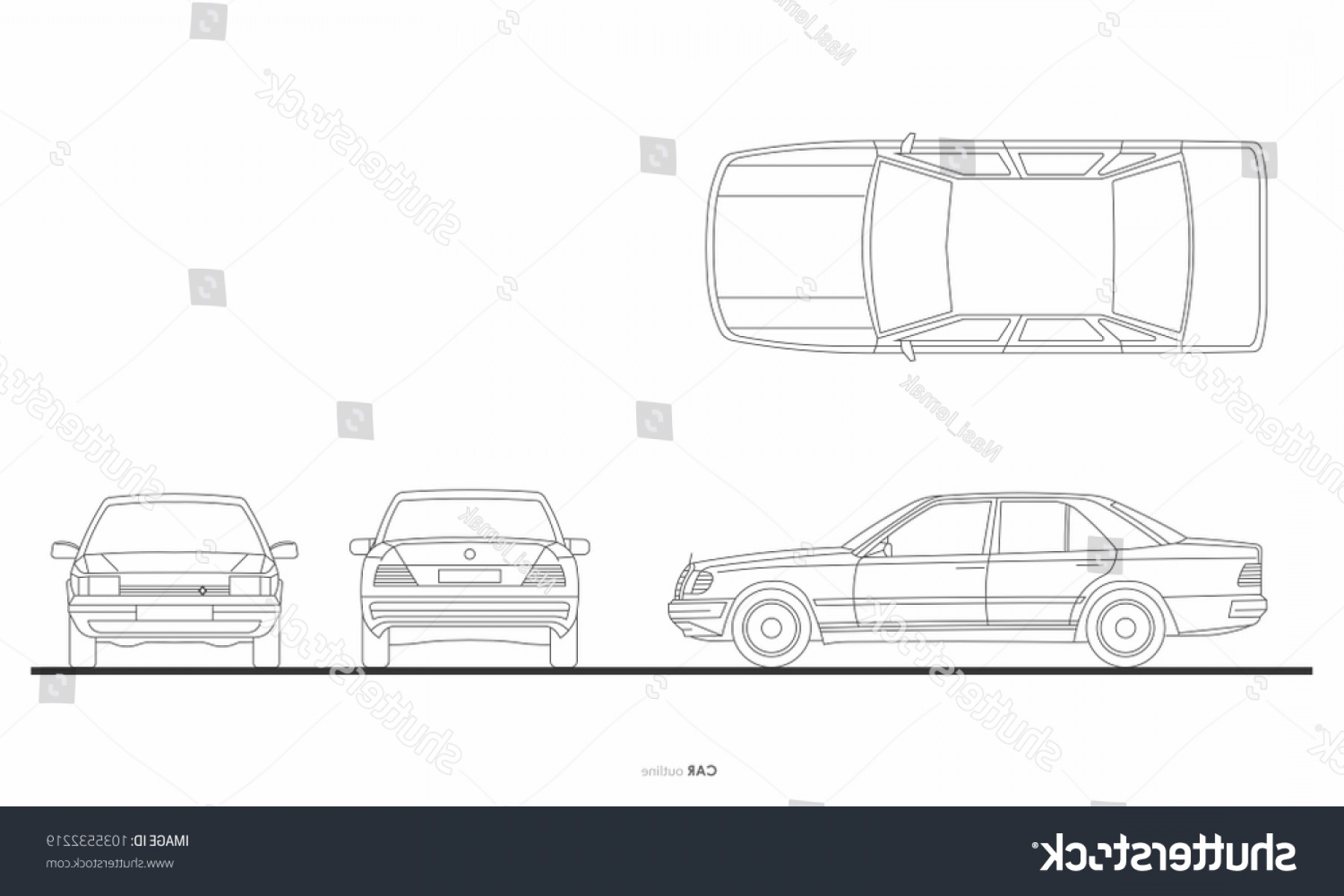 Car Vector Front Elevation: Car Outline Elevation Graphic Transportation