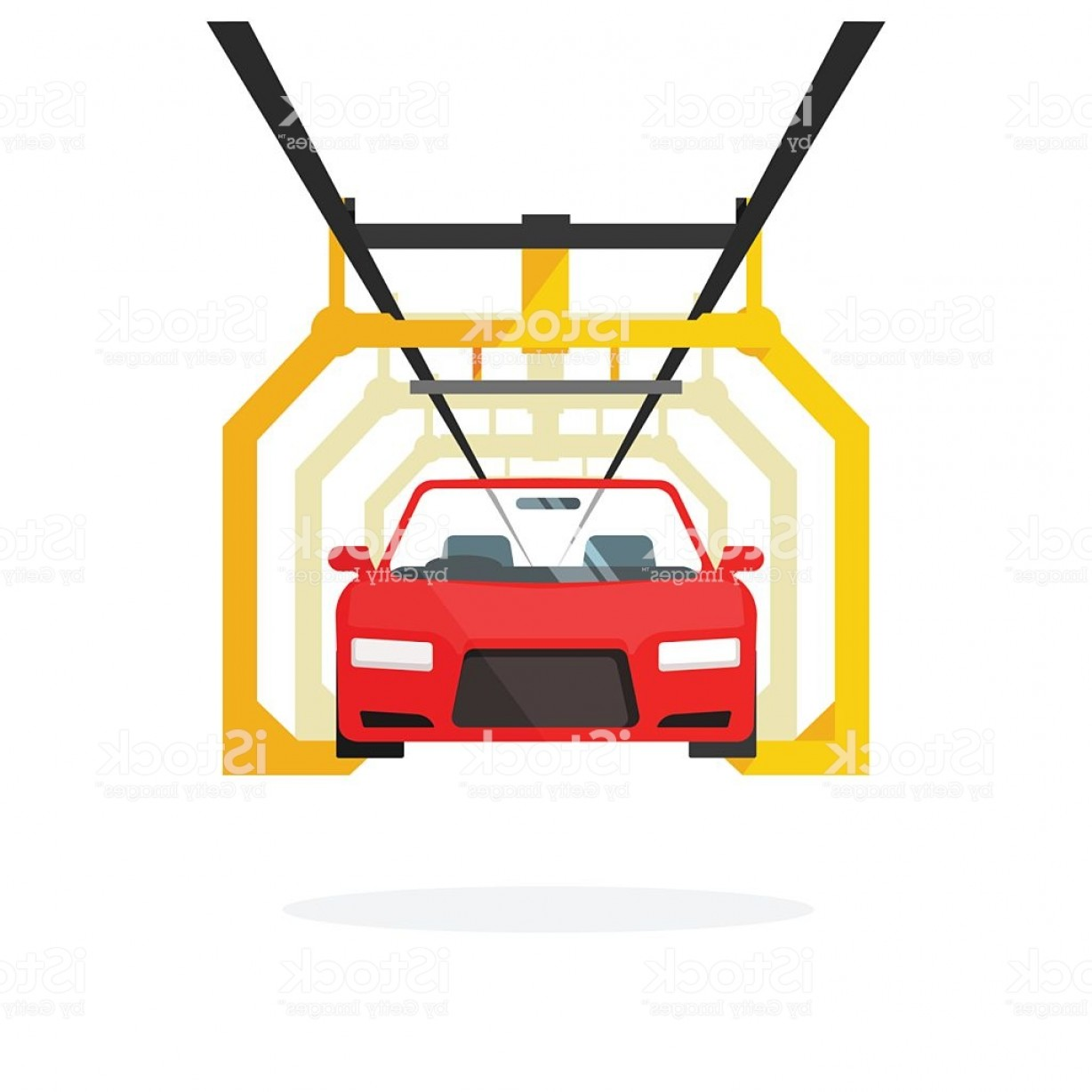 Auto Mobile Vector Art: Car Production Line Vector Illustration Auto Maintenance Process Automobile Gm