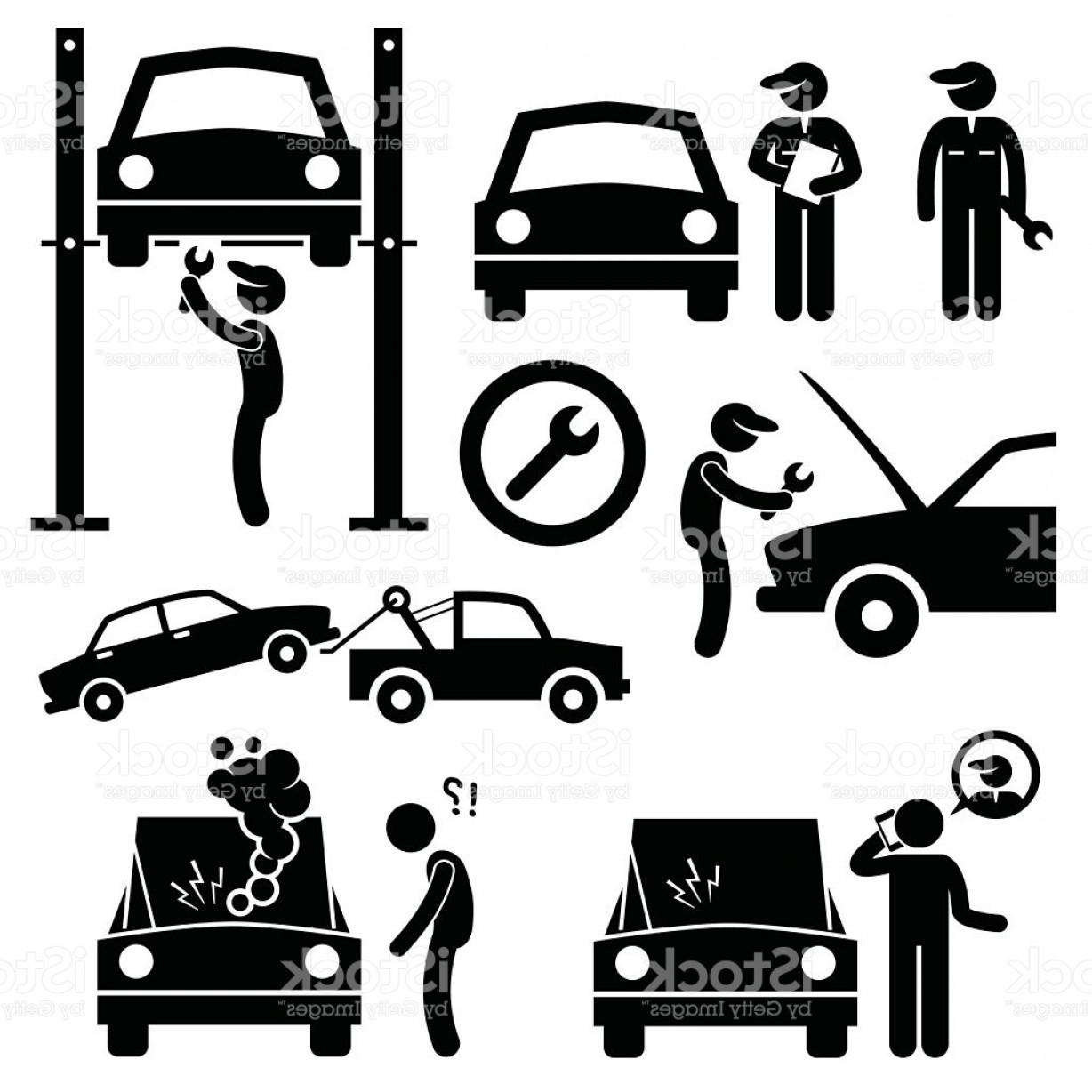 Workshop Icon Vector: Car Repair Services Workshop Mechanic Stick Figure Pictogram Icons Gm