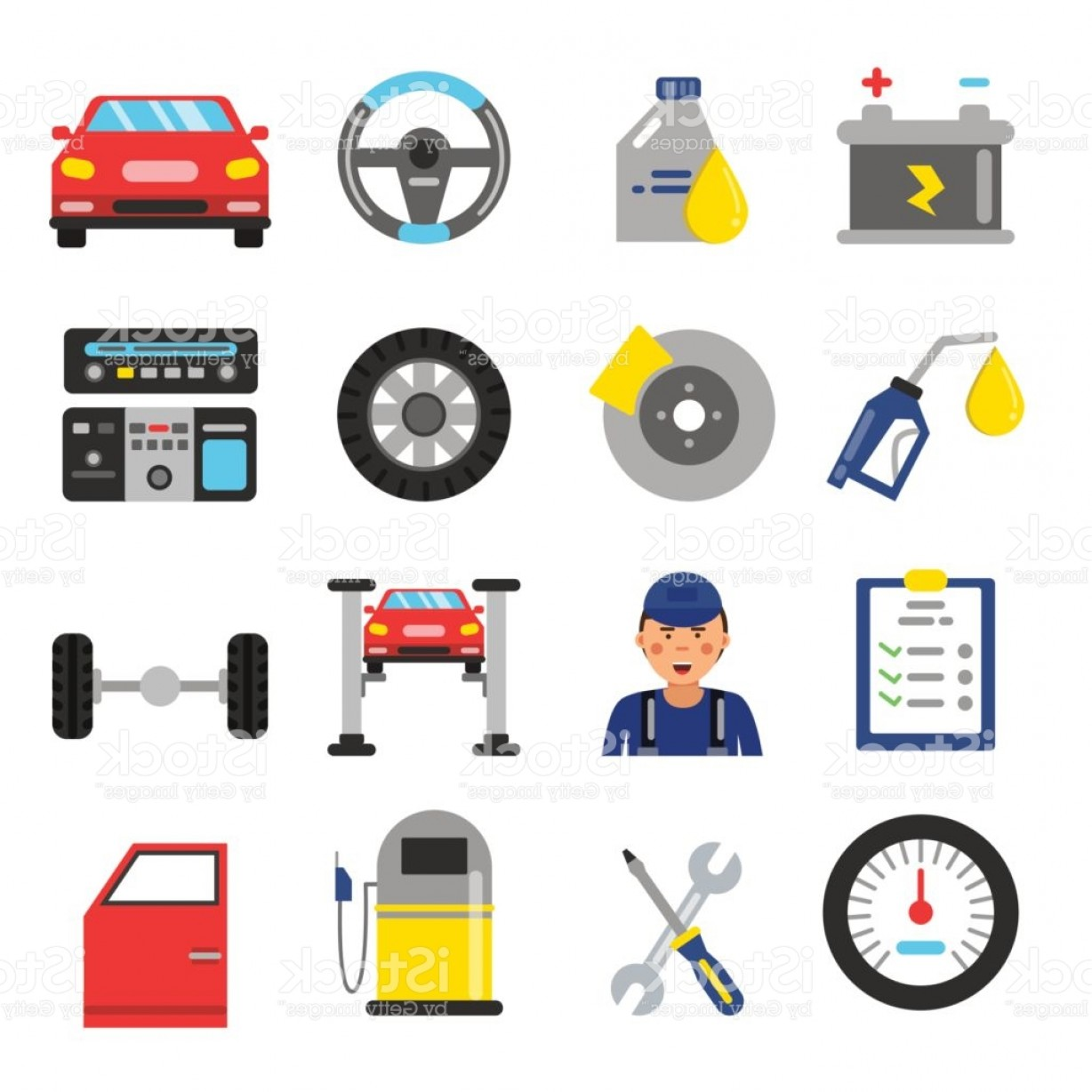 Auto Mobile Vector Art: Car Service Icons Set Different Parts Of Automobile Vector Illustrations In Flat Gm