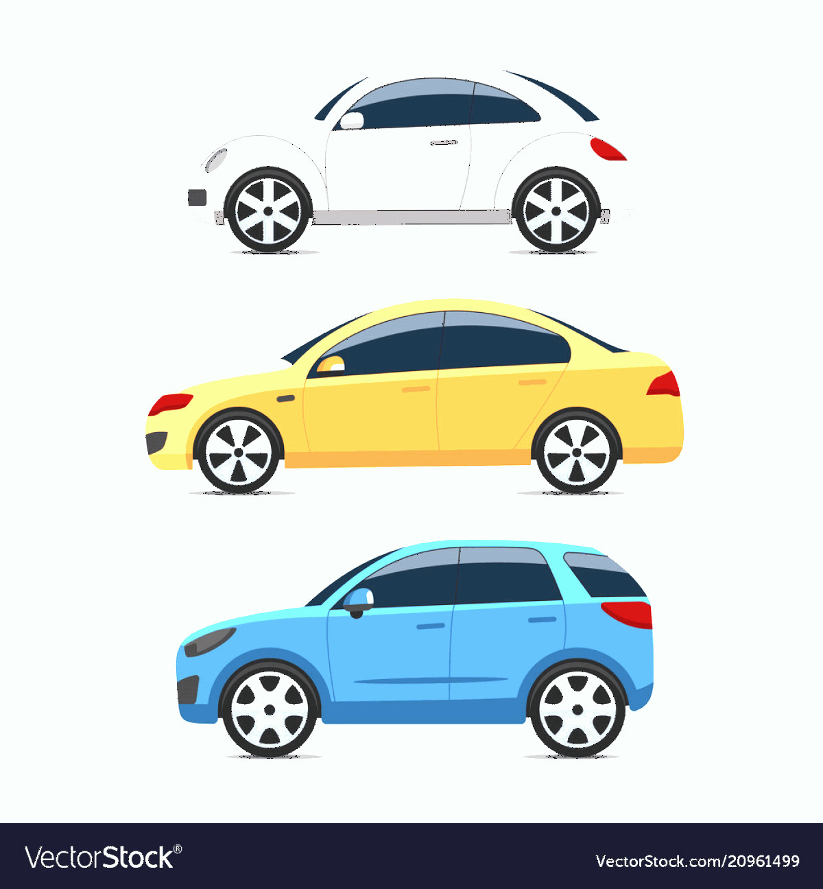 Vector Car: Car Side View Set Colorful Flat Style Vector