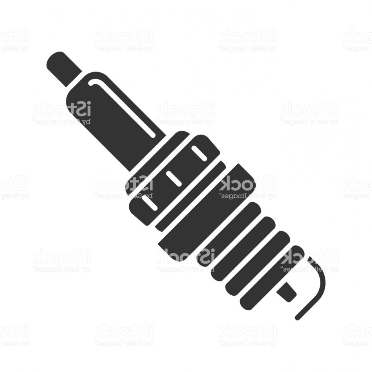 Spark Plug Vector: Car Spark Plug Glyph Icon Gm