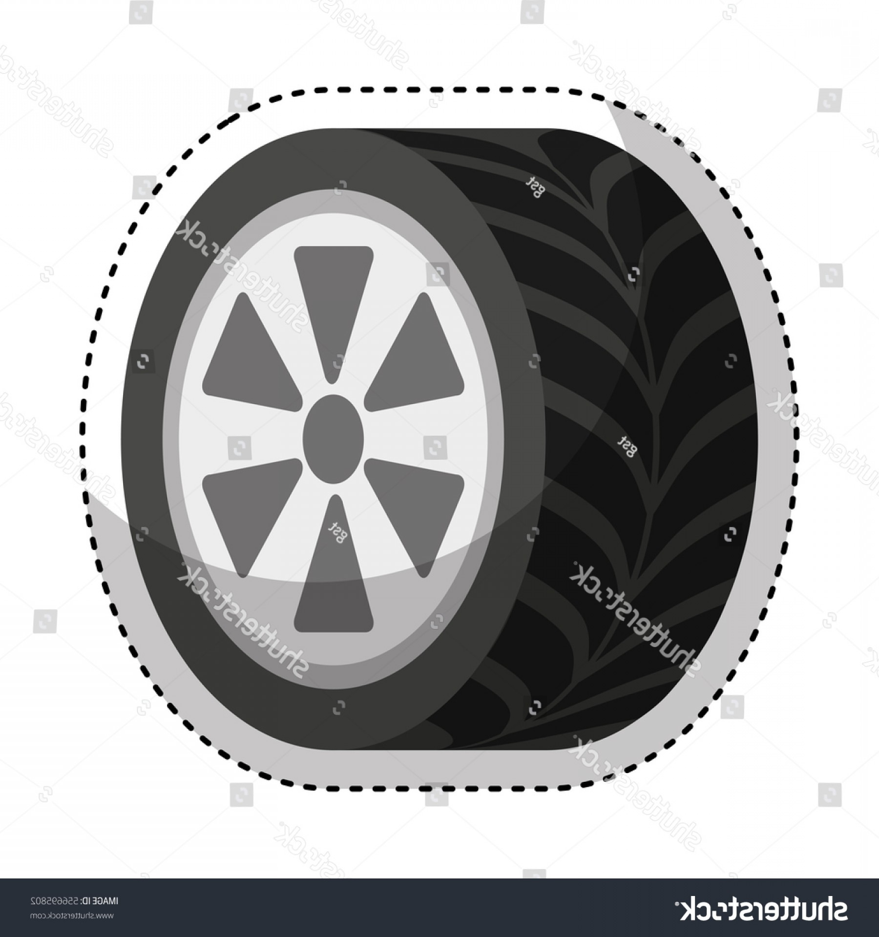 Tire Icon Vector: Car Tire Isolated Icon Vector Illustration