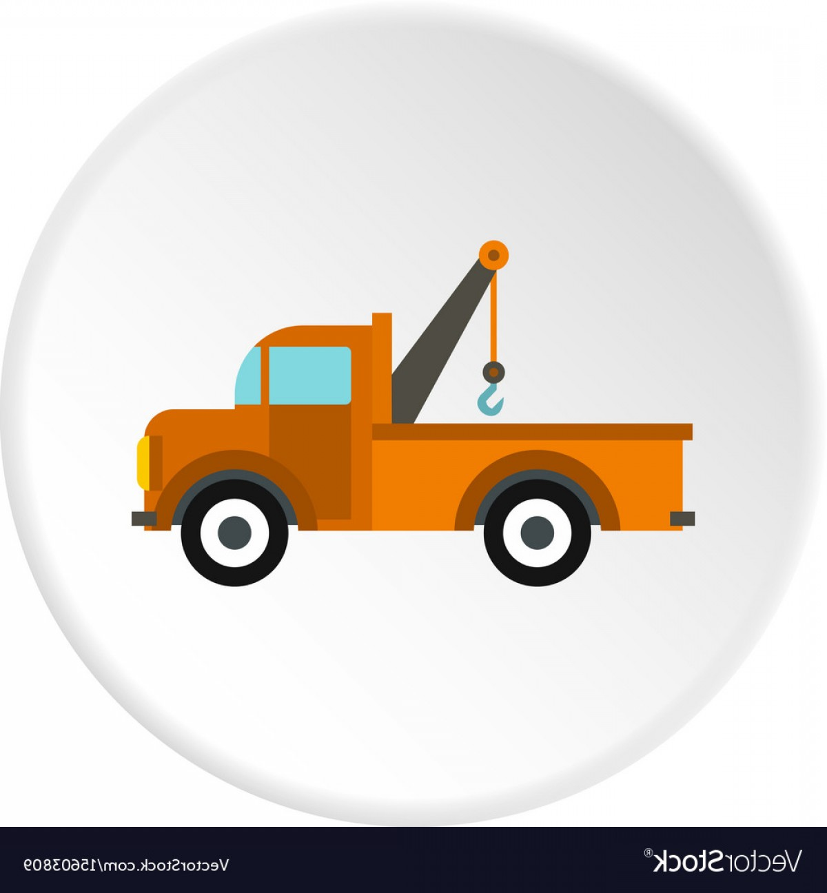 Towing Vector Clip Art: Car Tow Truck Icon Circle Vector