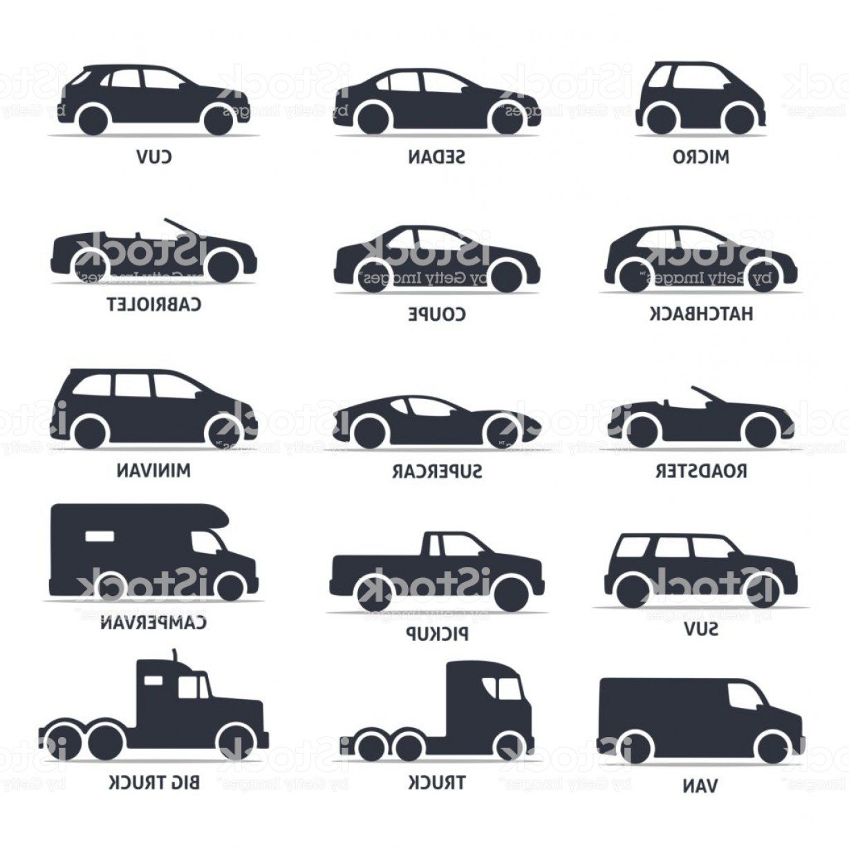 Auto Mobile Vector Art: Car Type And Model Objects Icons Set Automobile Gm