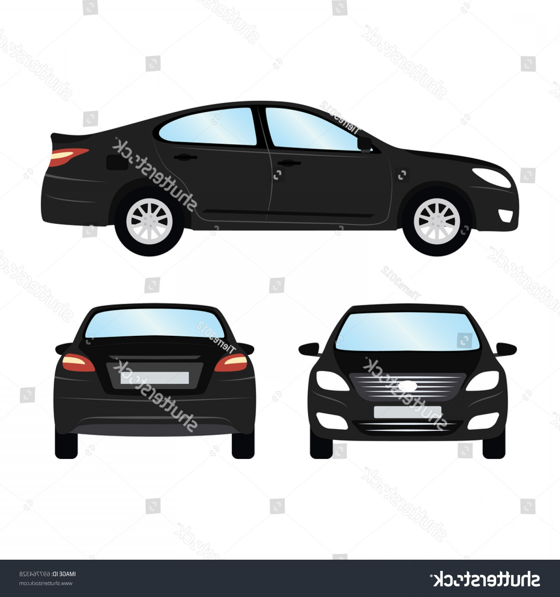 SUV Car Elevation Vector: Car Vector Template On White Background