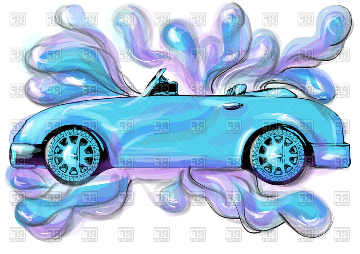 Car Wash Vector Graphics: Car Wash Abstract Illustration Vector Clipart