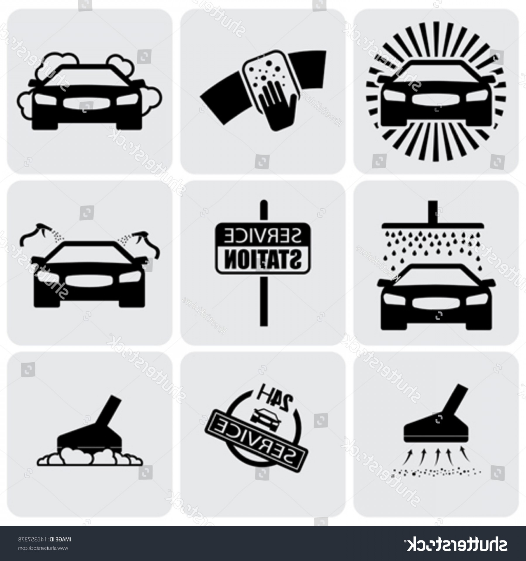 Washer Machine Vector Decal: Car Wash Icons Signs Set Cleaning