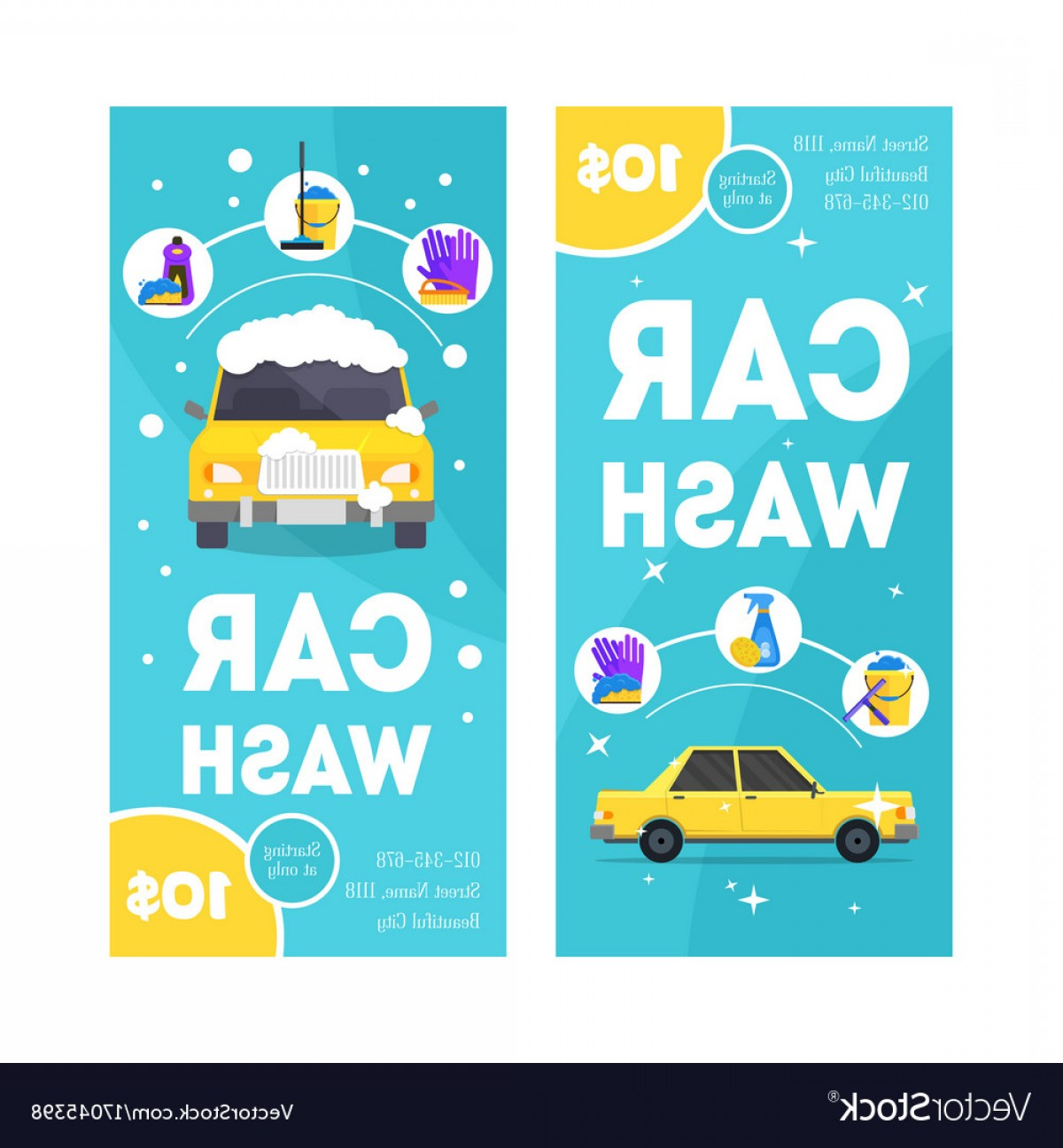 Car Wash Vector Graphics: Car Wash Service Vertical Banner Card Set Vector