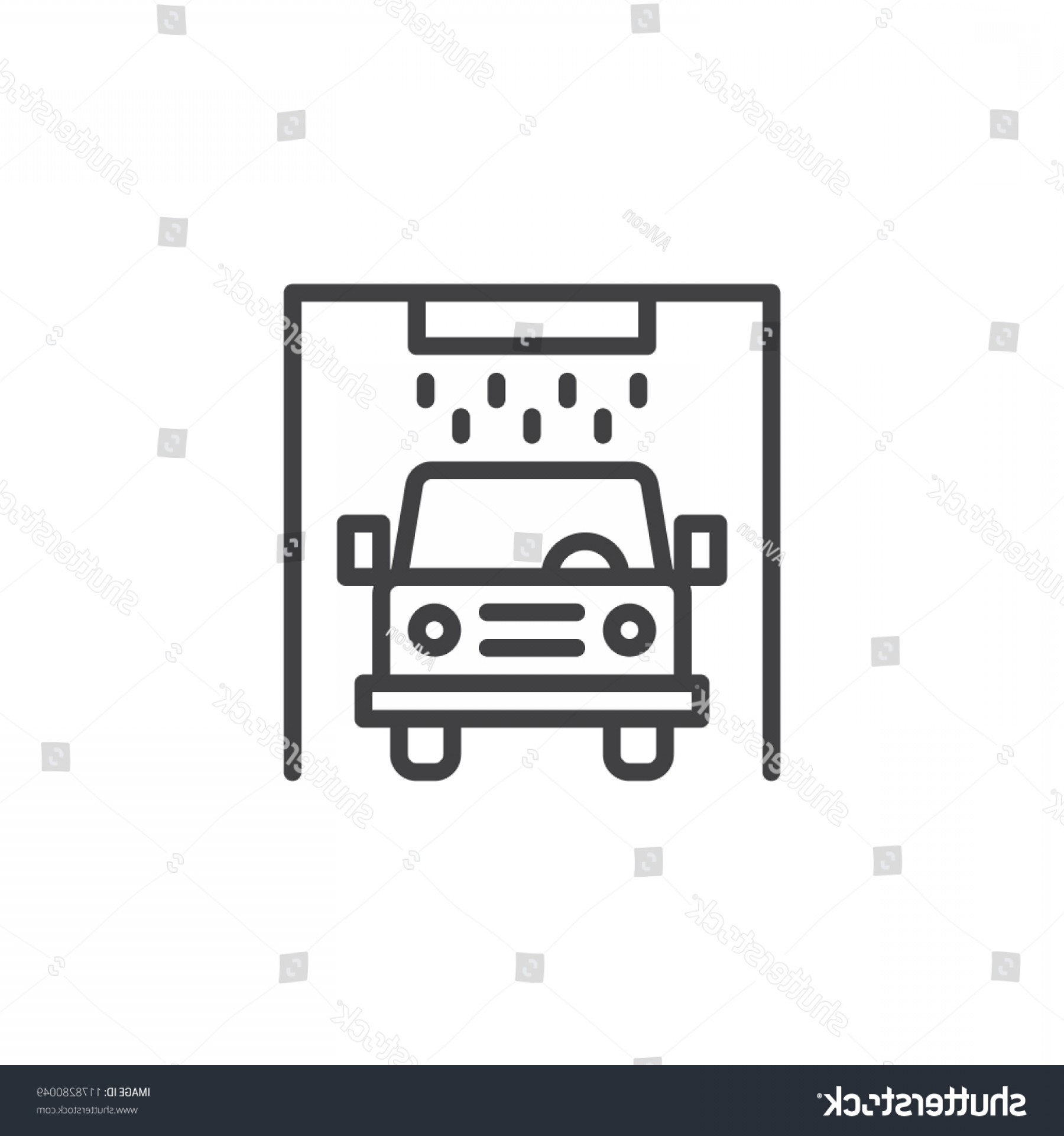 Car Wash Vector Graphics: Car Wash Station Outline Icon Linear